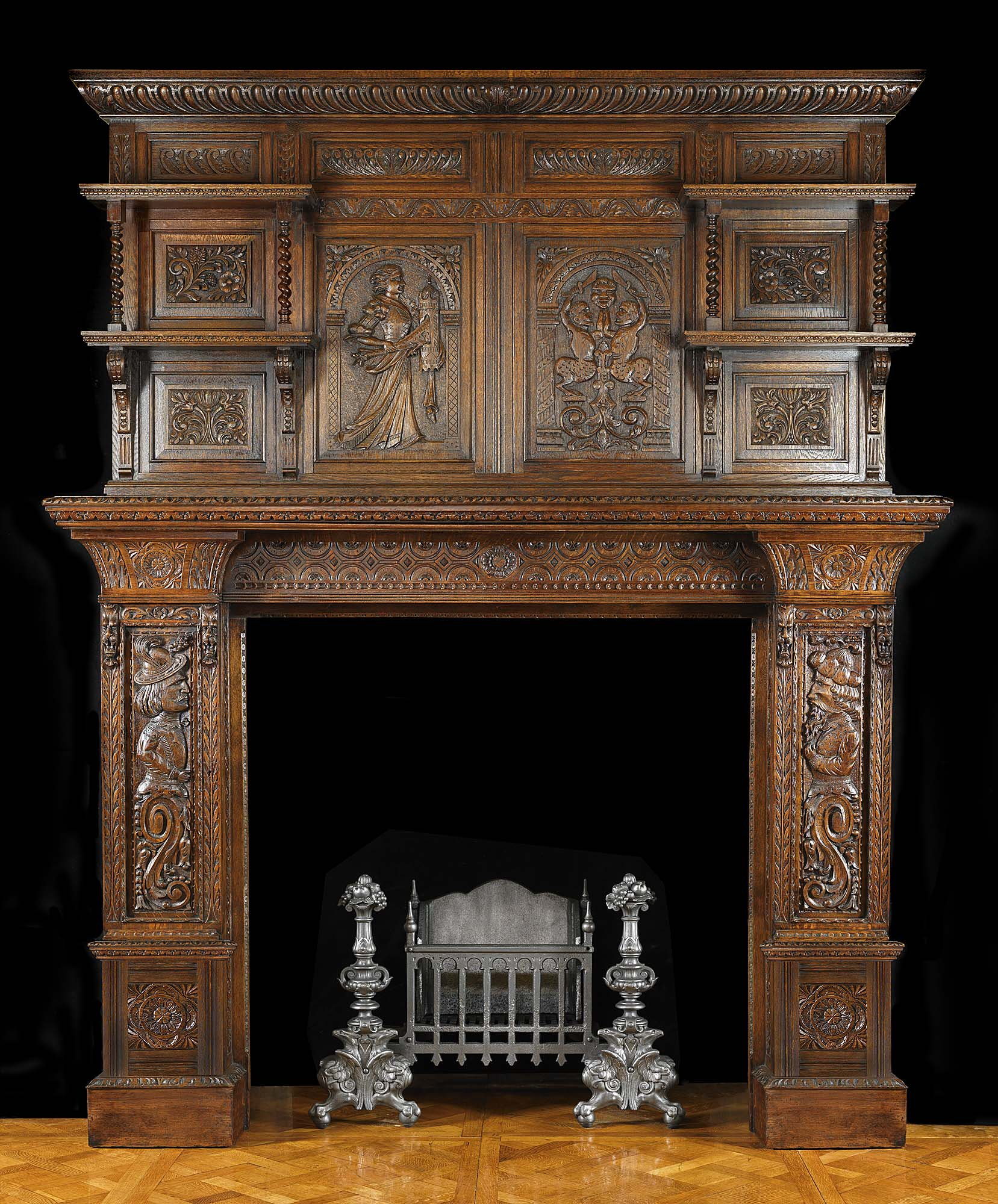 antique carved oak jacobean fireplace mantel