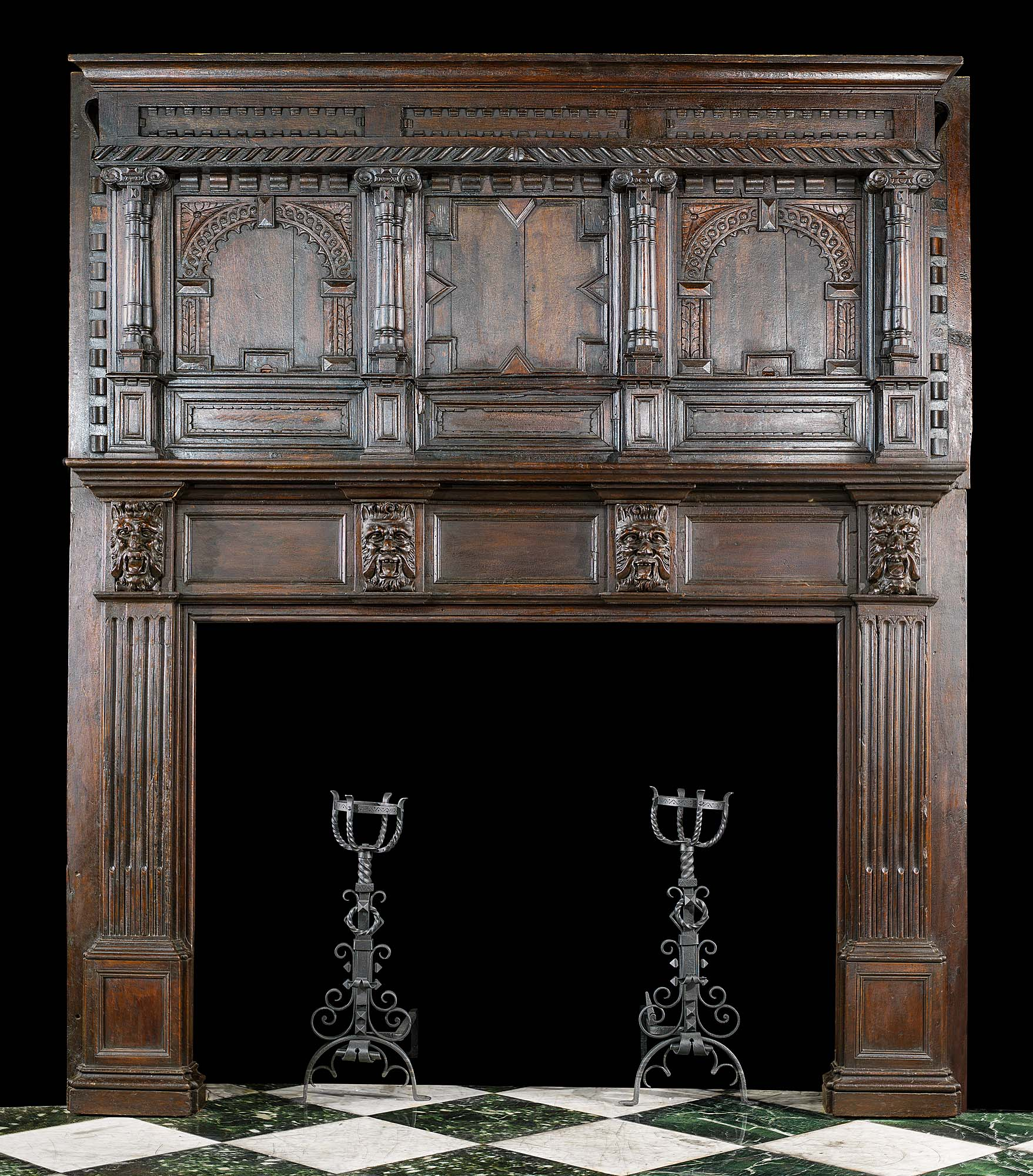 A Large 17th Century carved oak Antique Chimneypiece