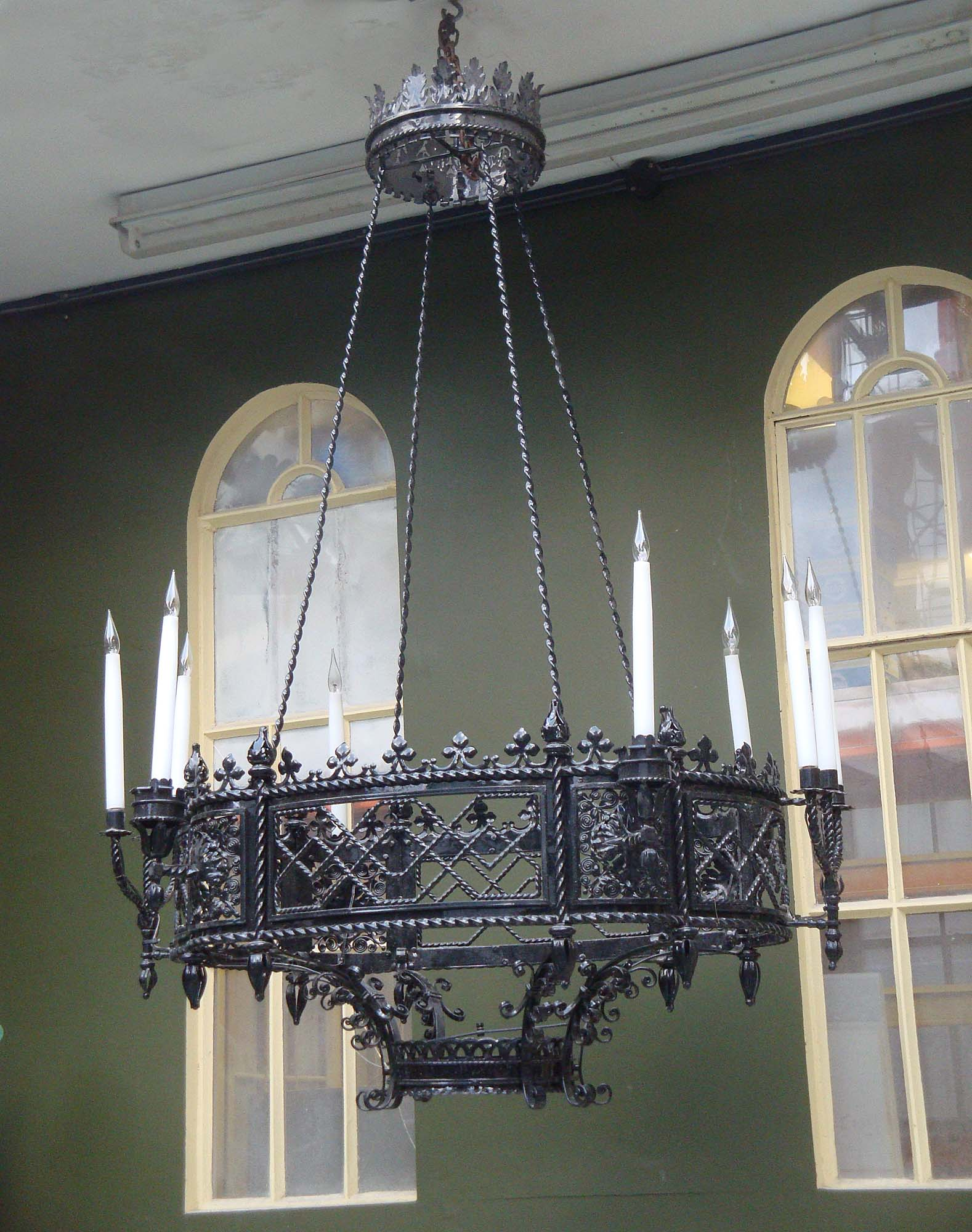 French Wrought Iron Gothic Tudor Chandelier ... - Antique Gothic Bronze Chandelier At 1stdibs 7173 Gothic Revival