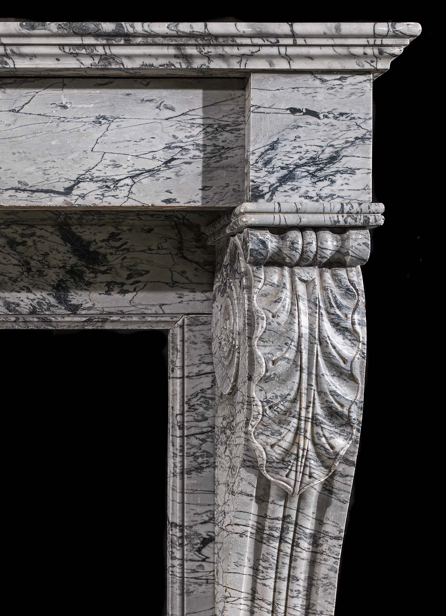An Antique Bardiglio Marble fireplace