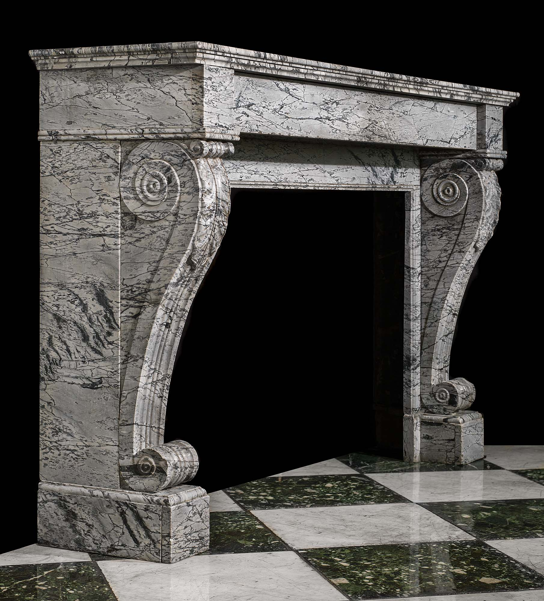 An French Louis XVI antique Bardiglio Marble fireplace