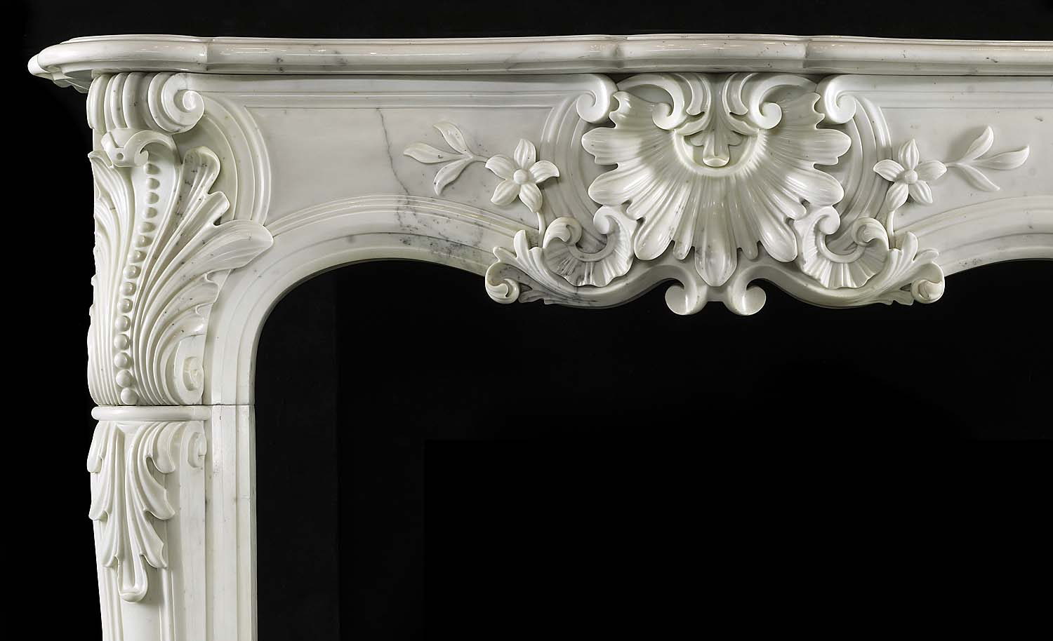 Antique French carved Louis XV Rococo Fireplace in White Statuary Marble