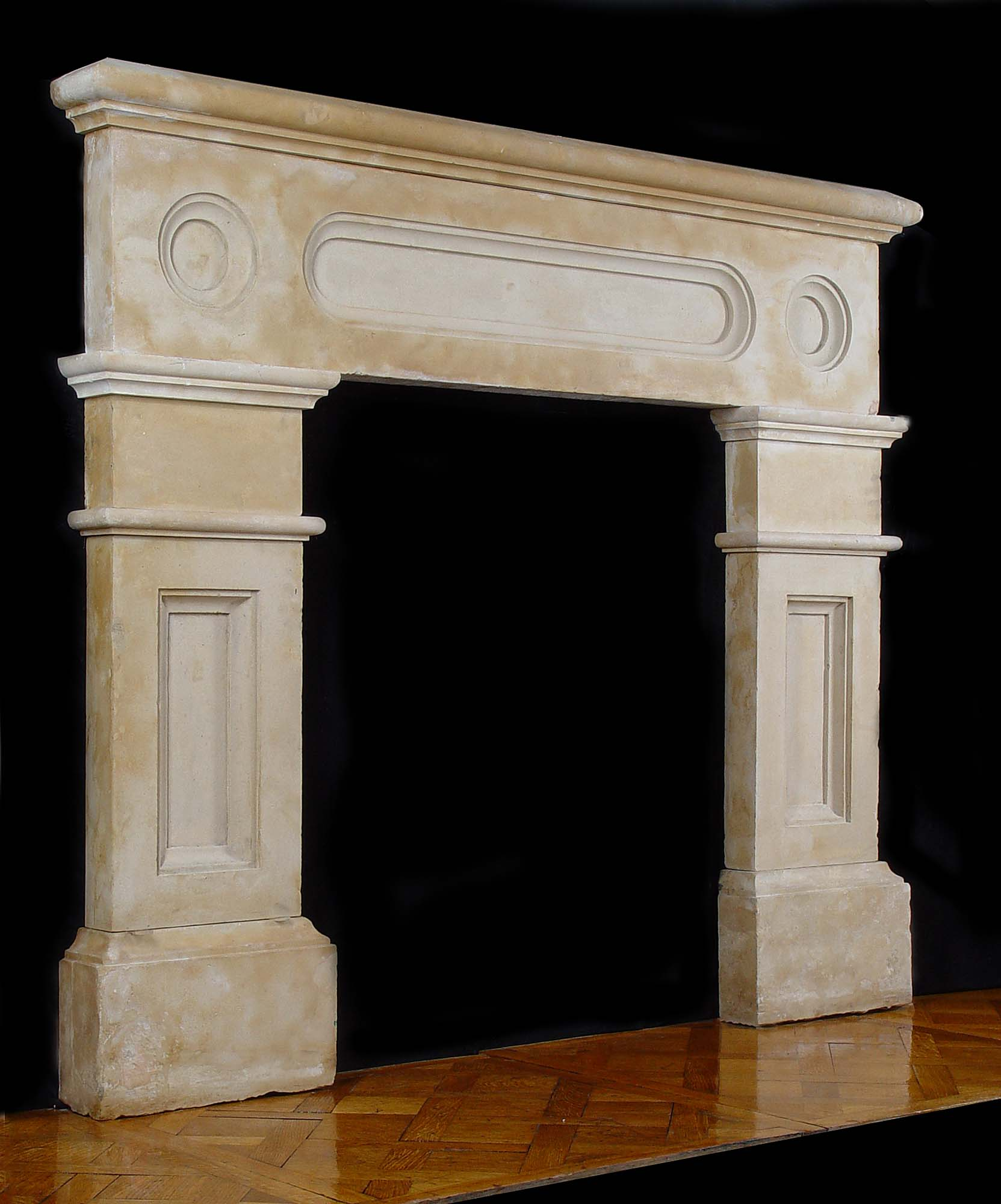 Antique Victorian limestone Chimneypiece with substantial Shelf