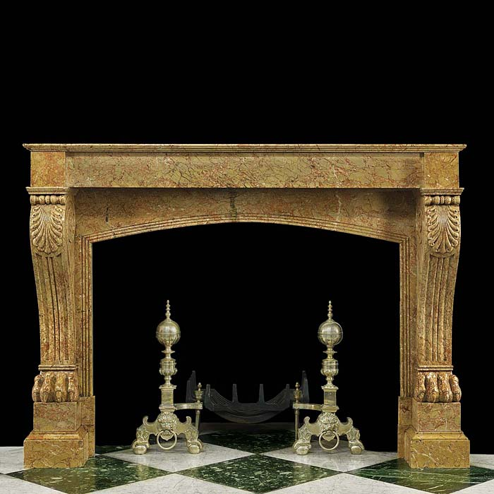 Antique French Louis XVI manner Breccia Dorata Marble Fireplace
