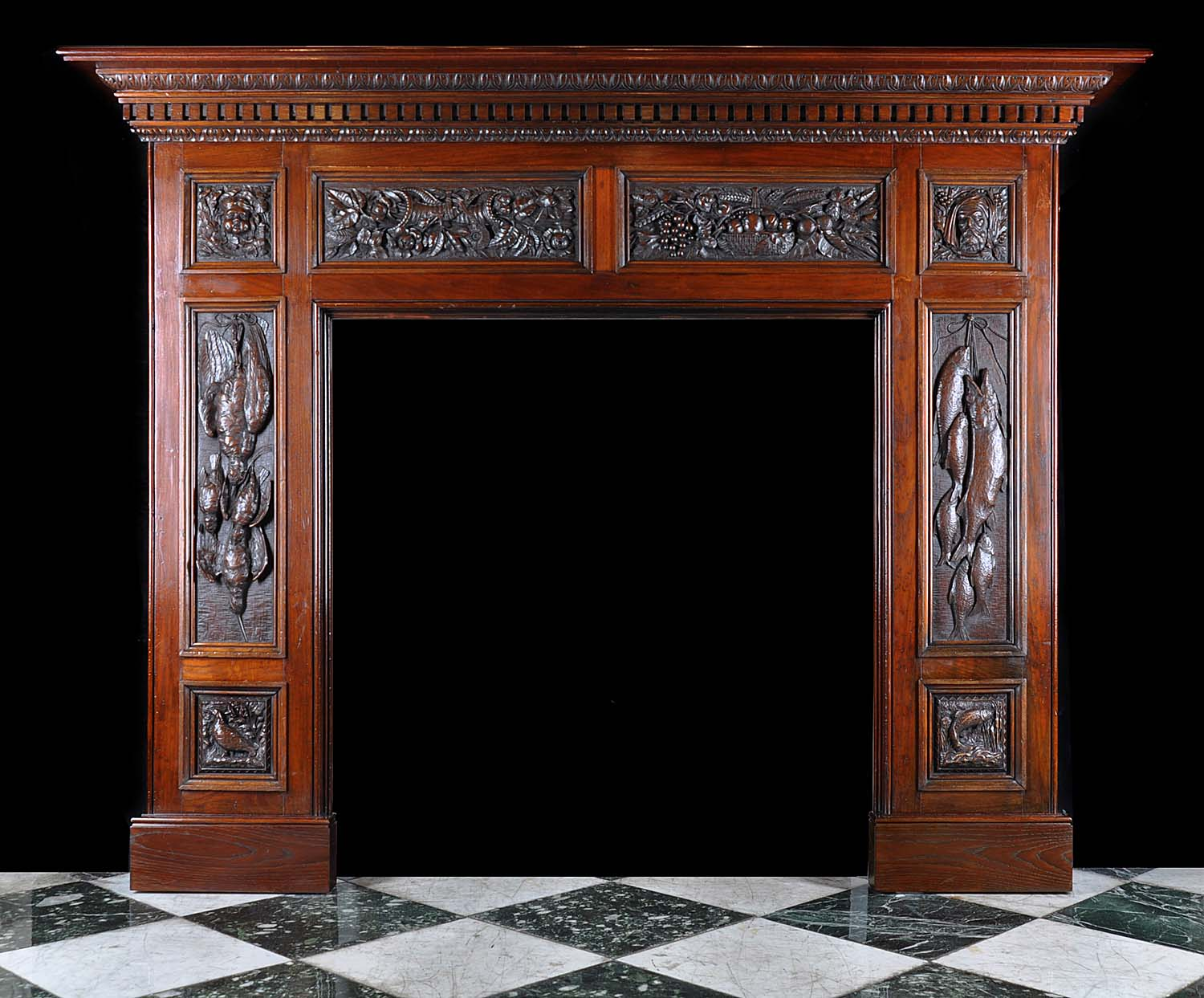 Antique Victorian Carved Wood Oak Fireplace Mantel