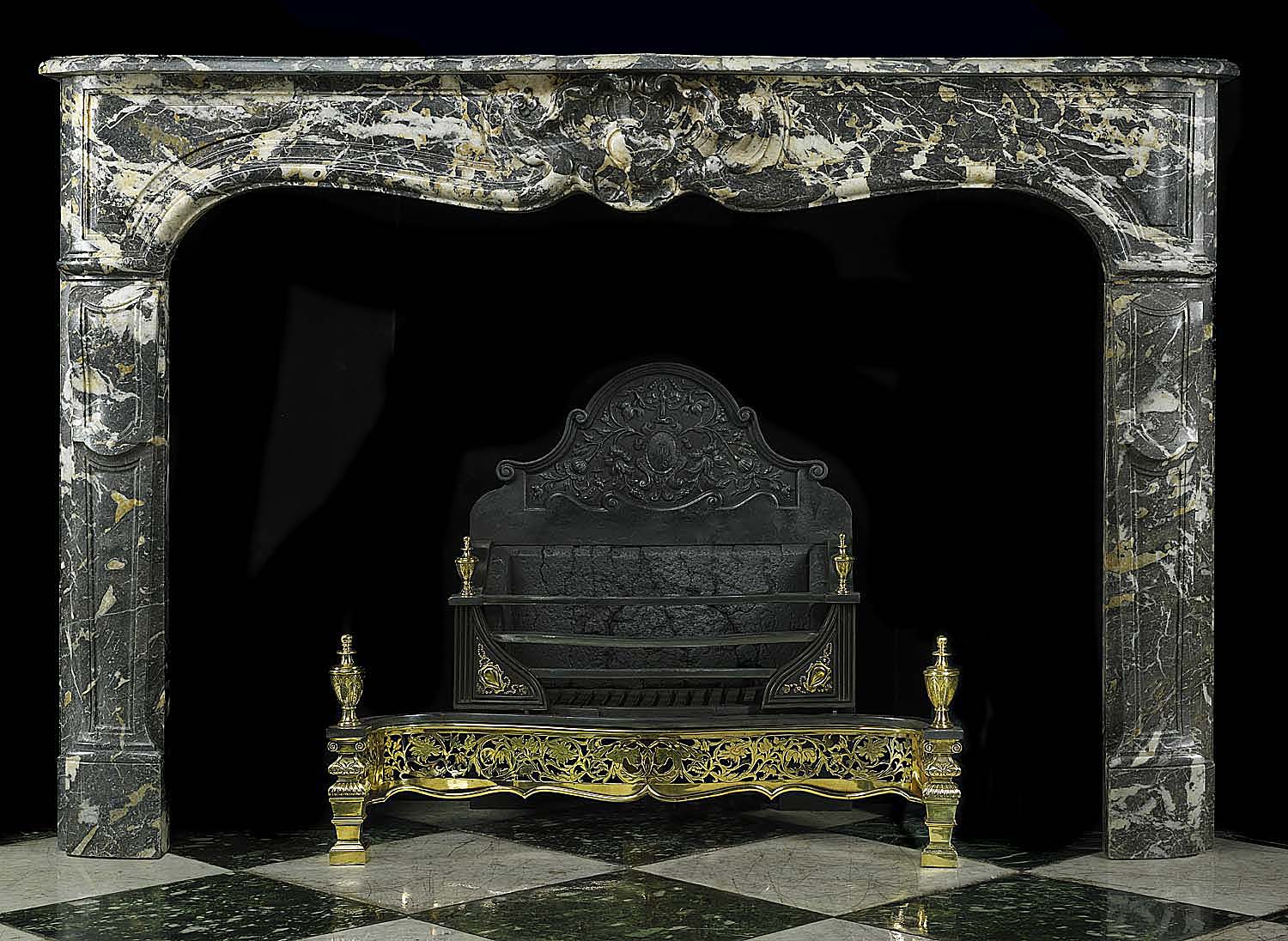 Antique Black Marble Rococo Louis XV French Chimneypiece