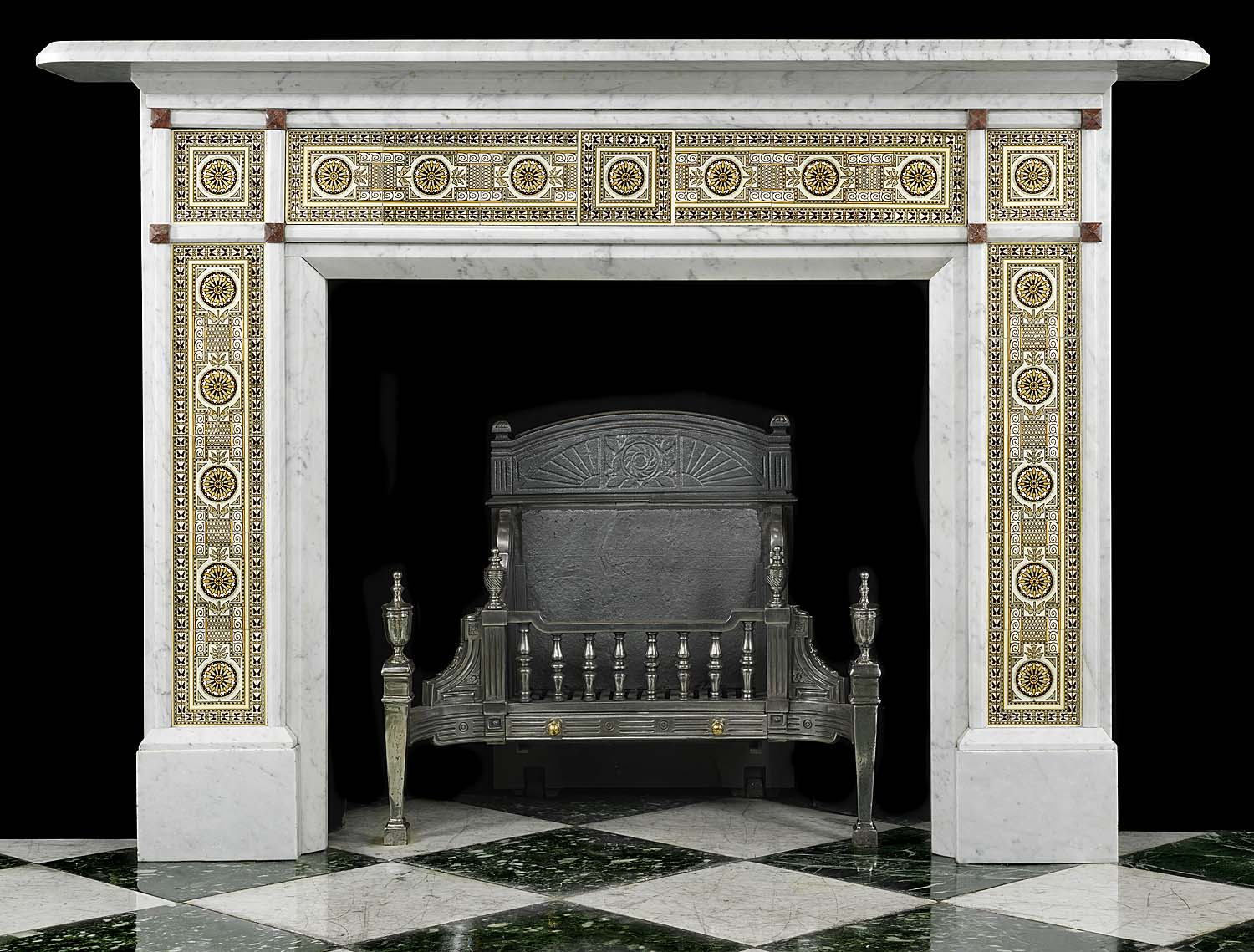 antique victorian marble fireplace with tiles images frompo. Black Bedroom Furniture Sets. Home Design Ideas