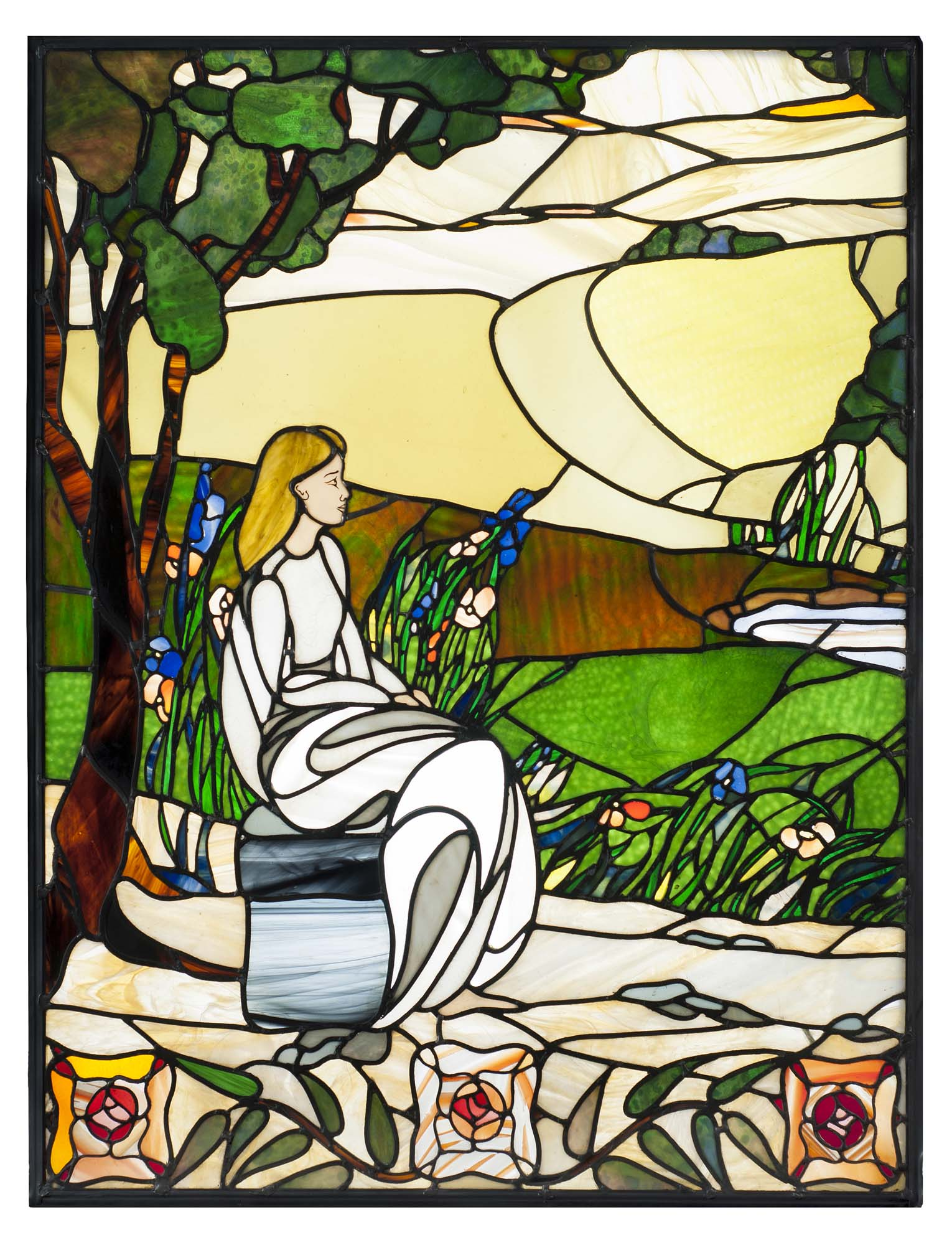 Art Nouveau style stained glass tryptich window
