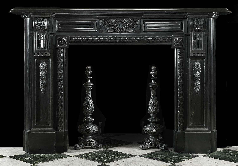 Antique Palladian Black Marble Fireplace Mantel