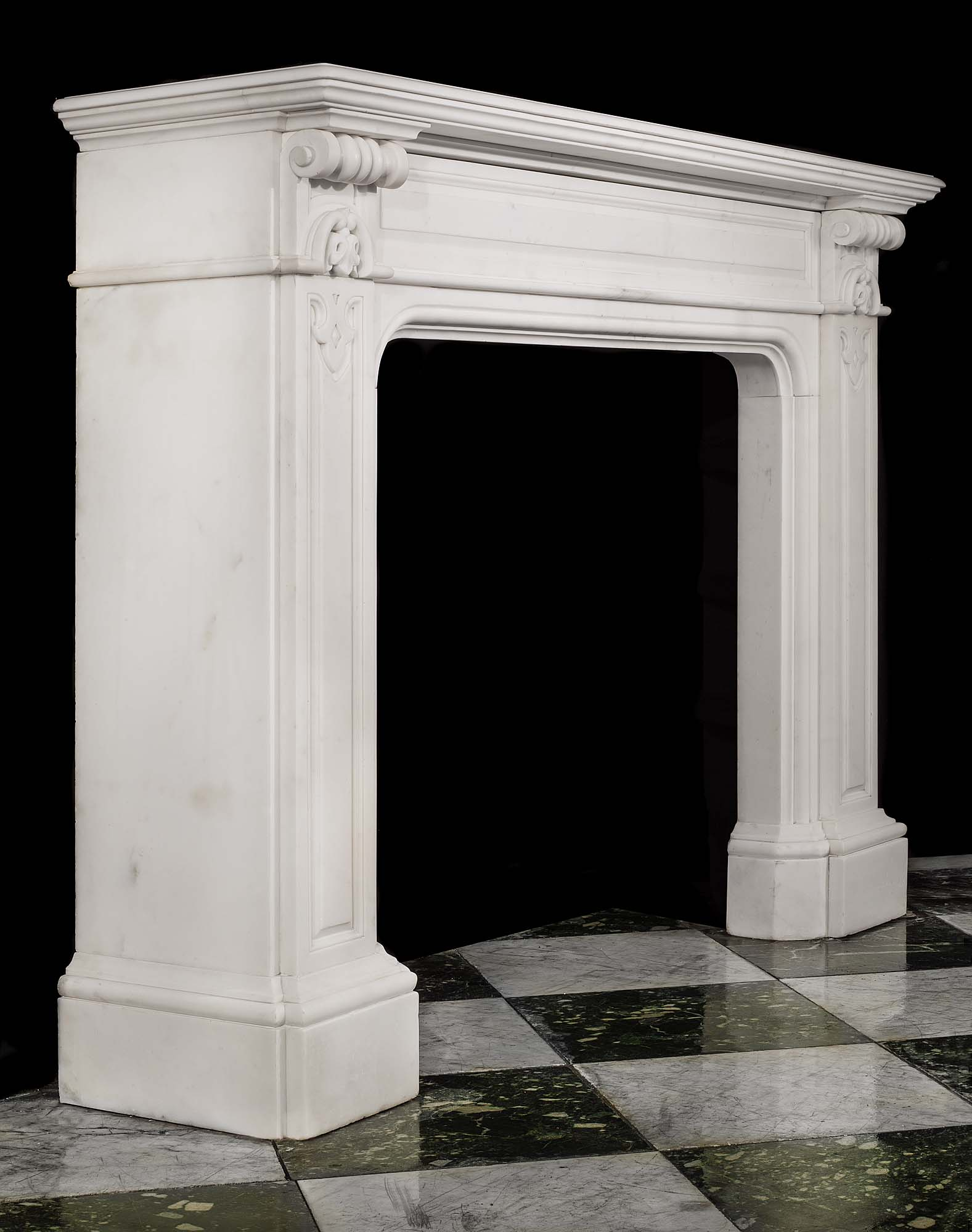 A Period Antique William IV Statuary Marble Chimneypiece Mantel