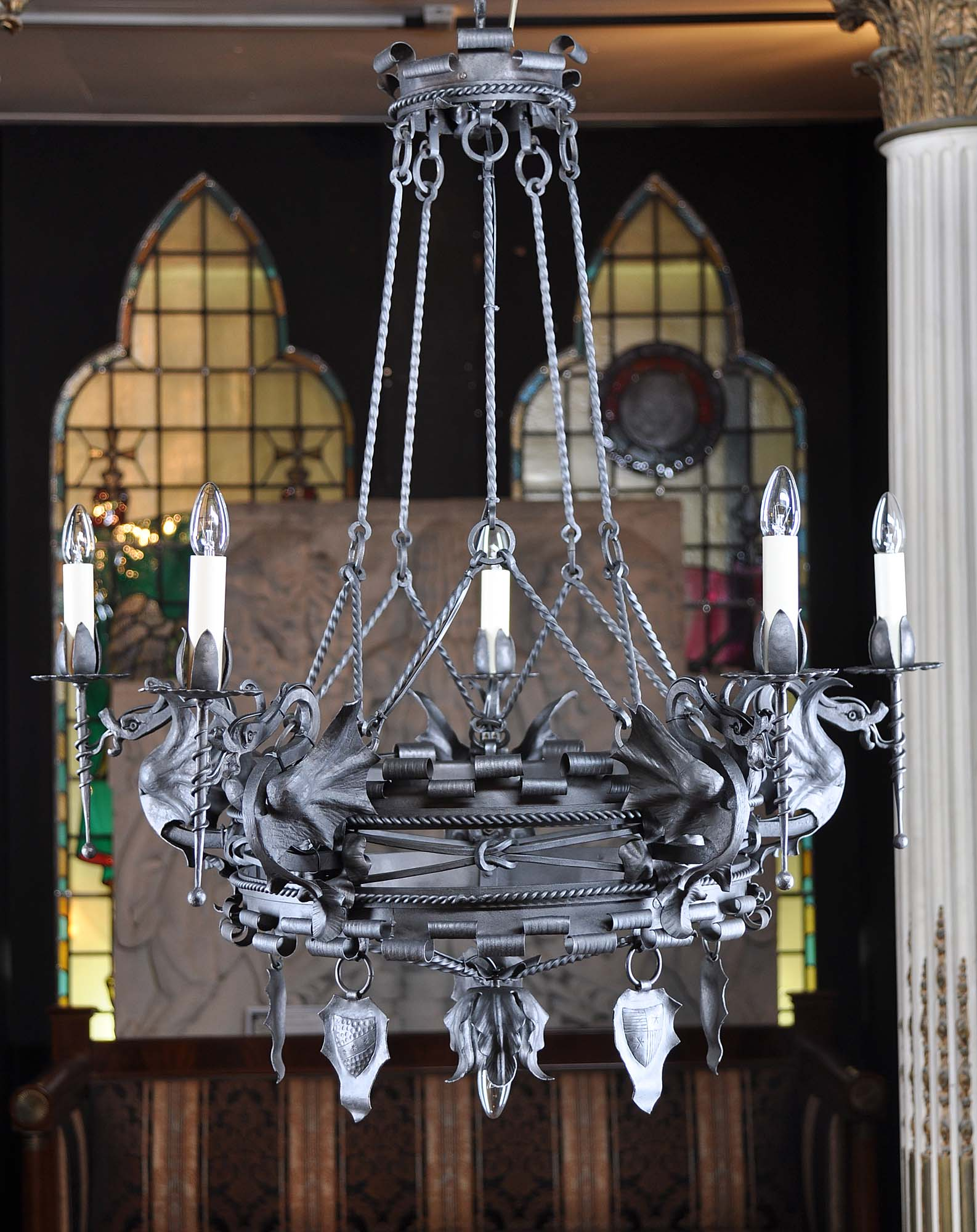 Iron mannerist dragon chandelier