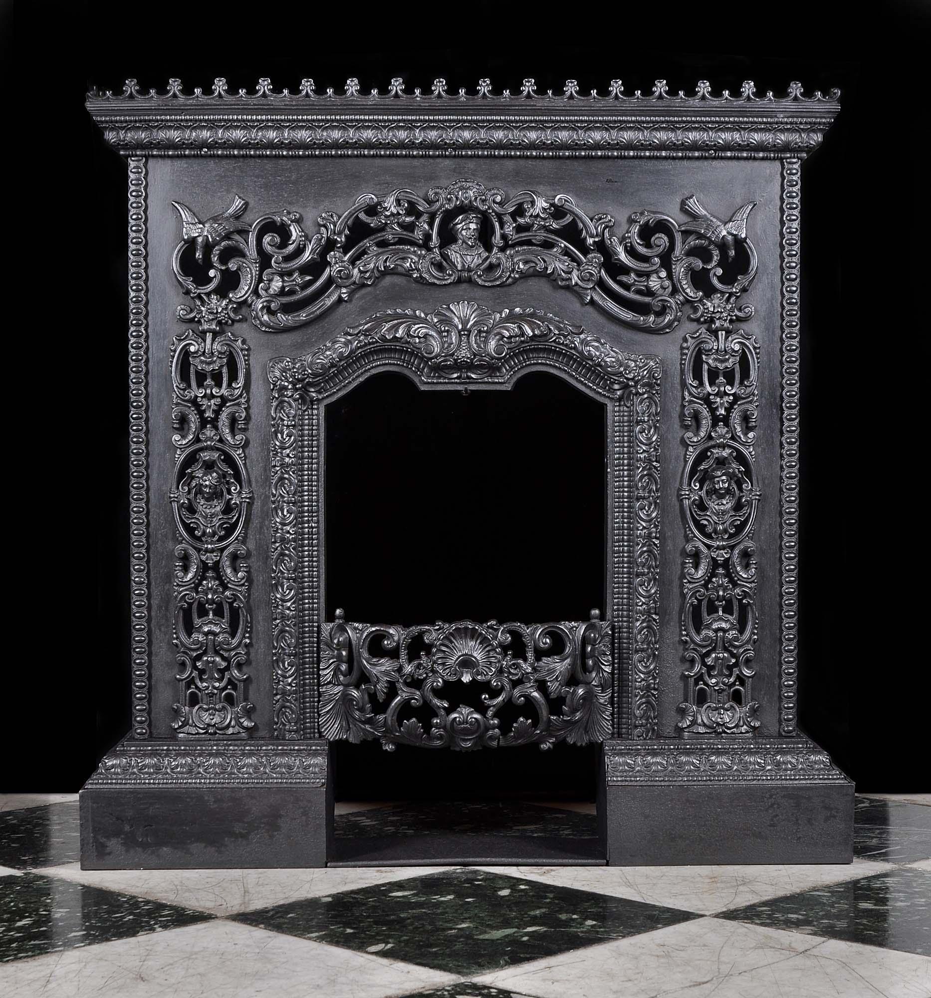 Antique Cast Iron Italian Renaissance Fireplace Mantel