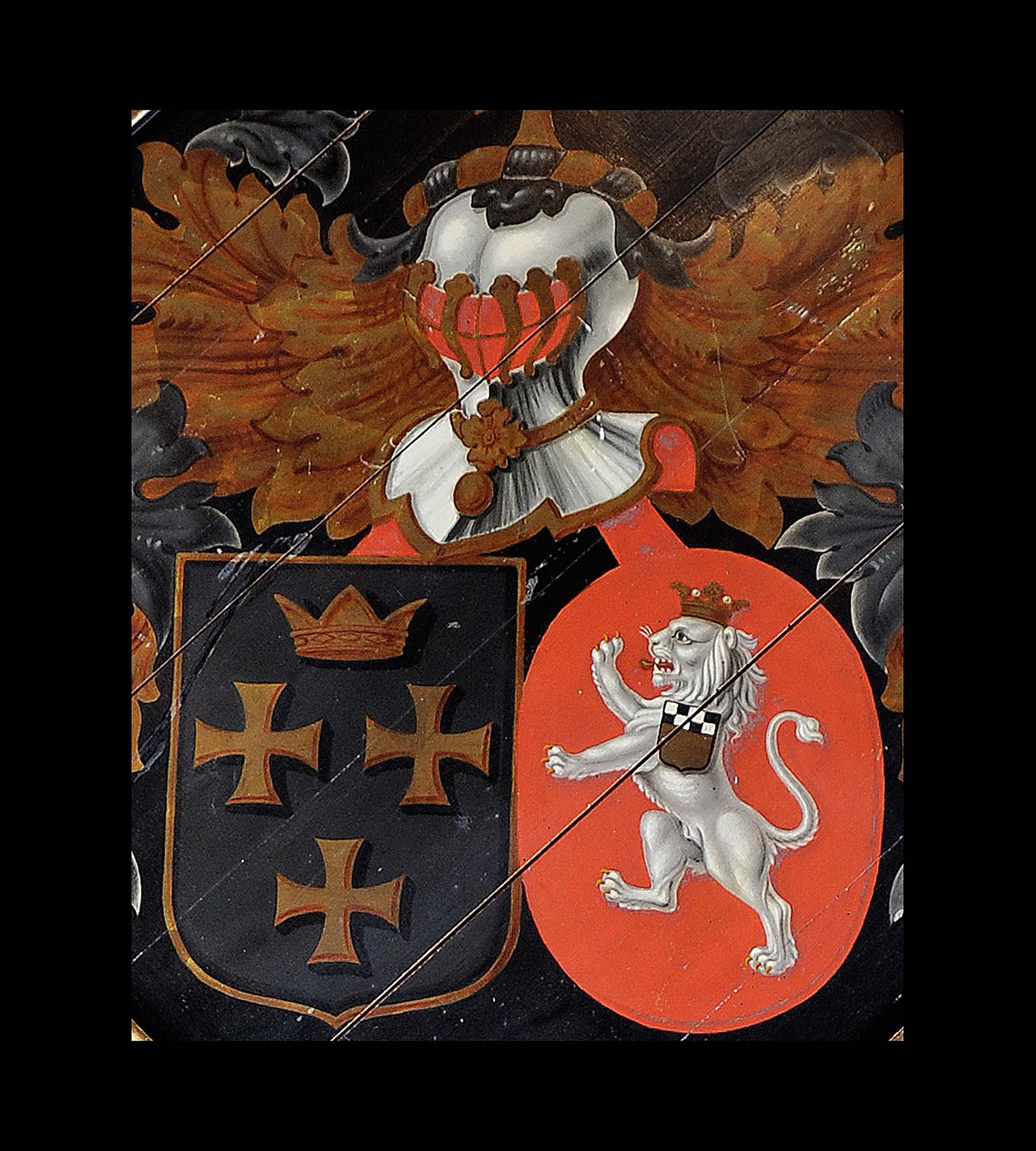 A Victorian painted antique armorial hatchment
