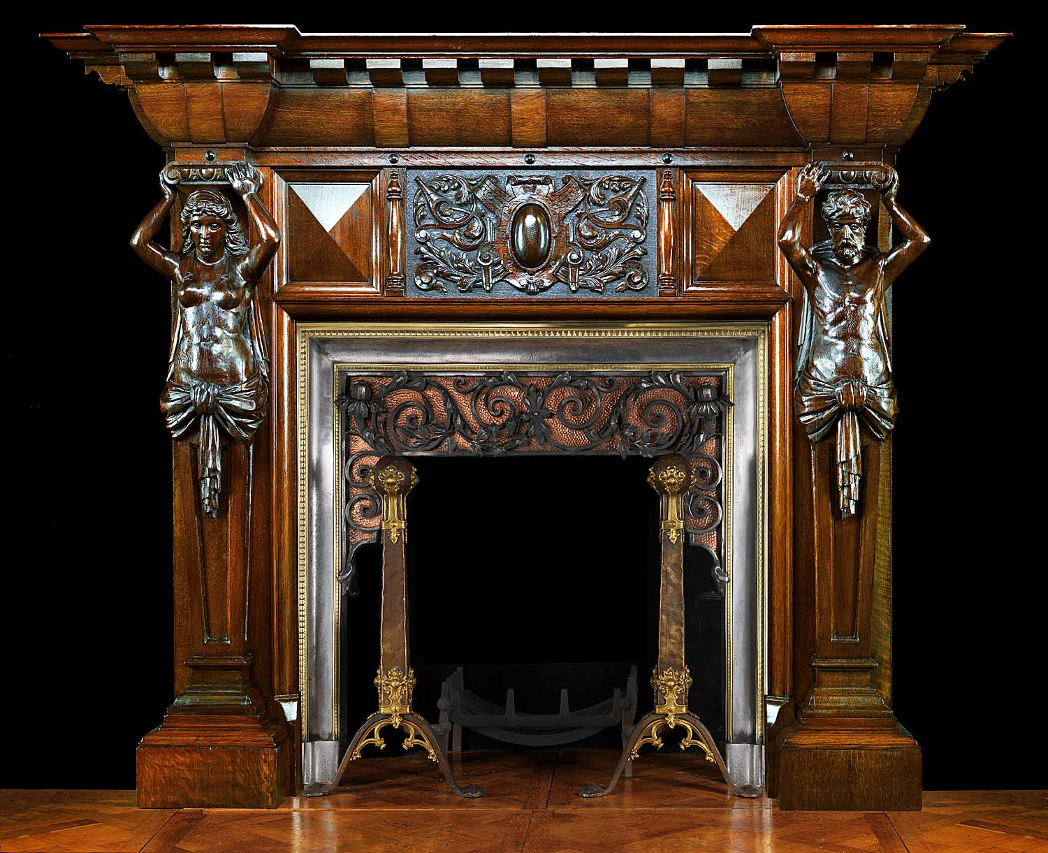 antique renaissance carved oak atlantean figured fireplace