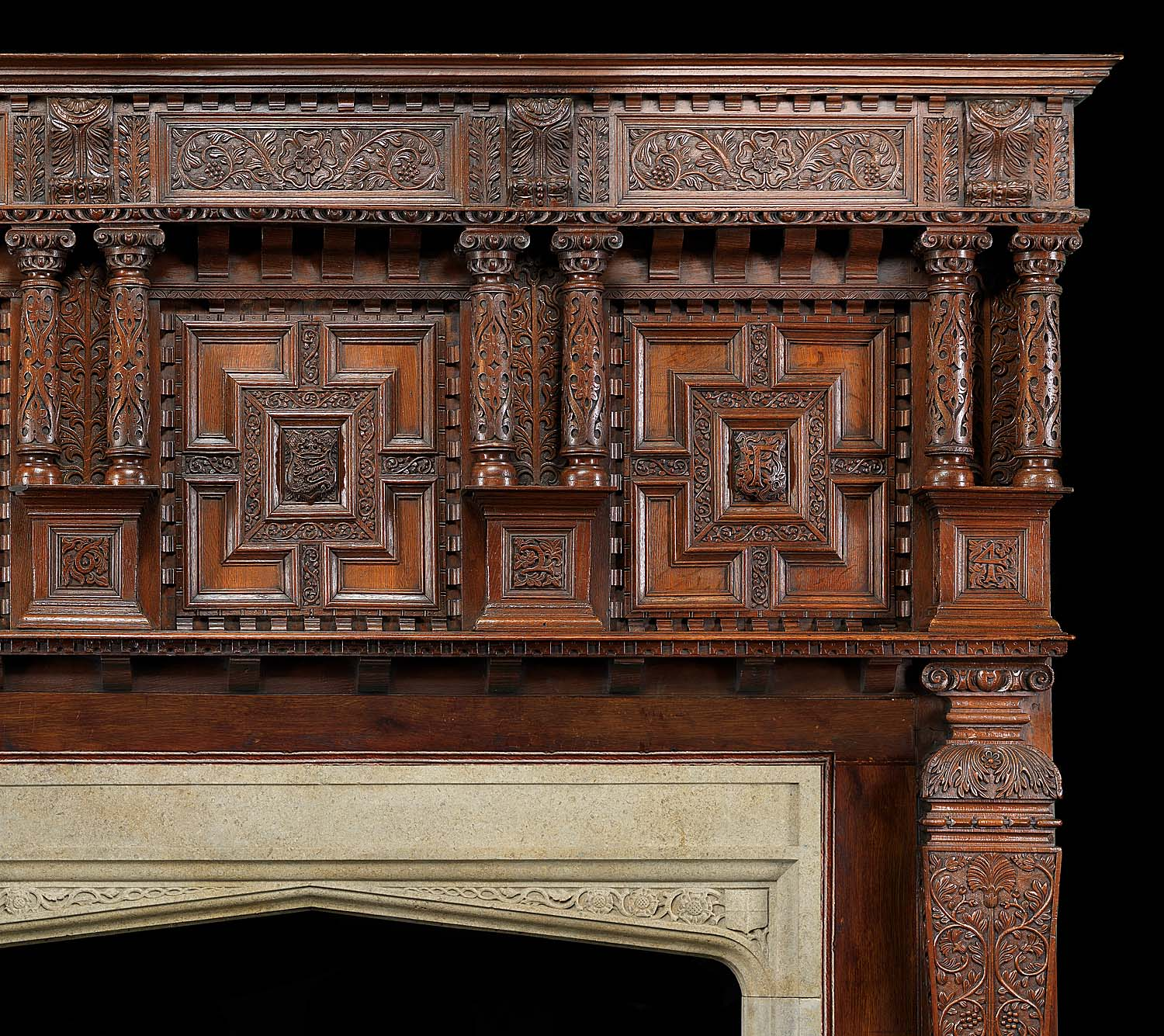 Antique Oak Jacobean carved wood James I Chimneypiece