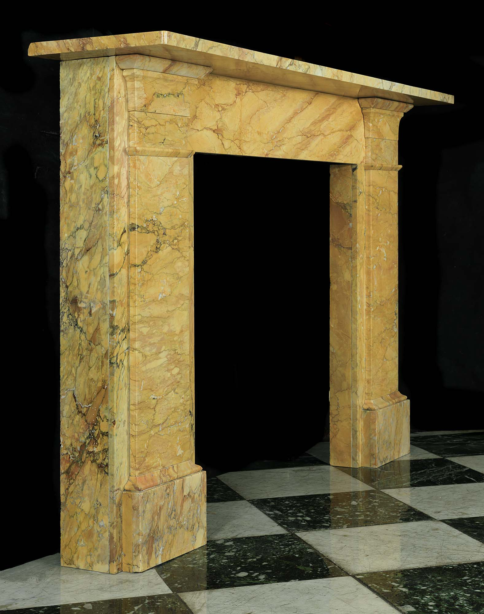 Antique English Sienna Marble Regency Yellow Chimneypiece