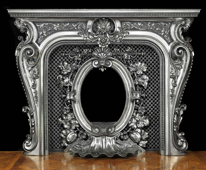Antique Victorian Rococo Cast Iron Coalbrookdale Fireplace Mantel