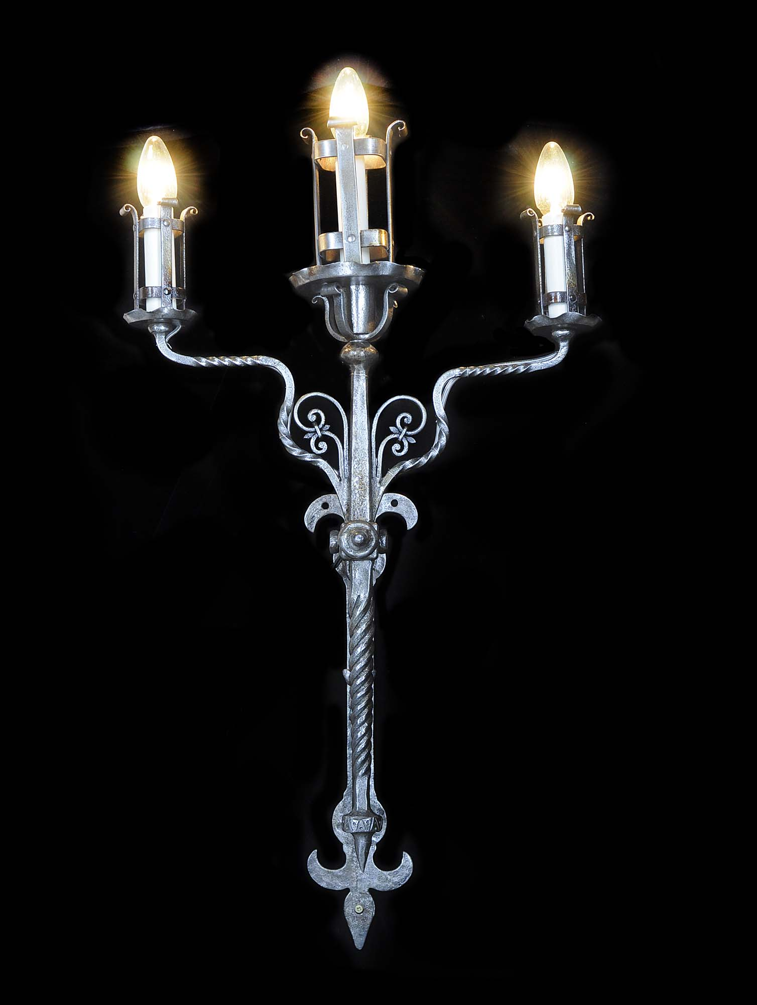 Arts & Crafts style three branch wall light