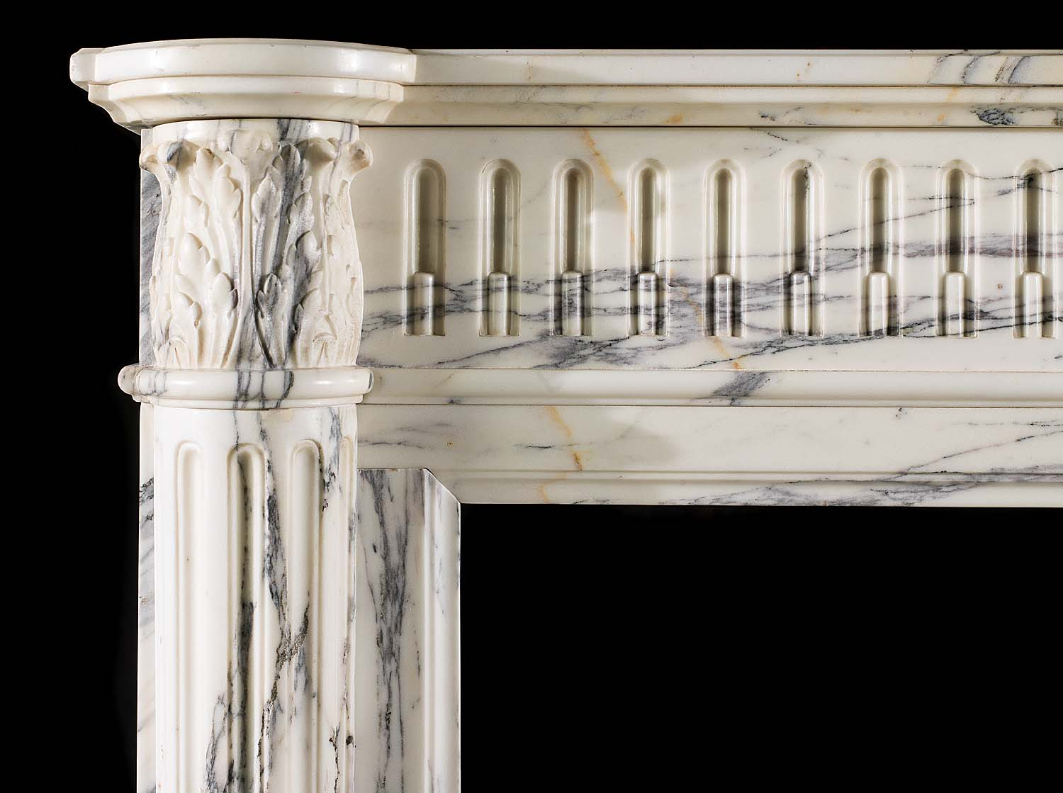 An Antique Louis XVI Arabescato Marble Fireplace Mantel