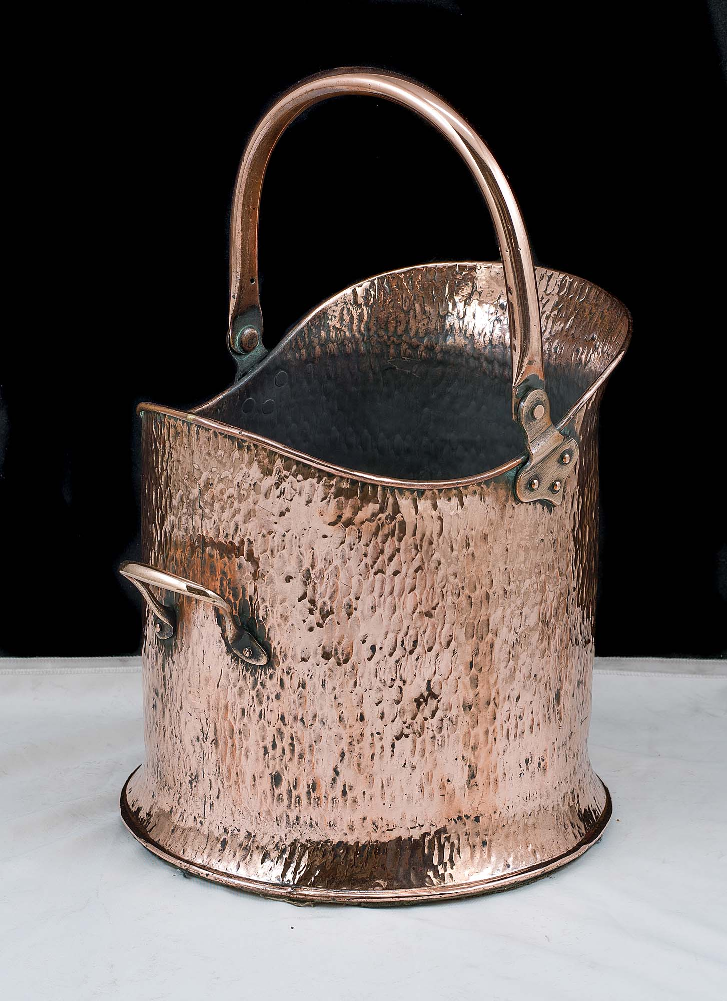 Small copper 1920s coal scuttle