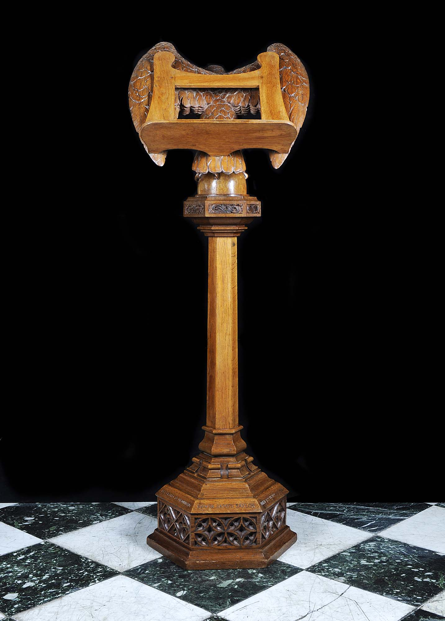 Art Deco hexagonal carved oak eagle lectern