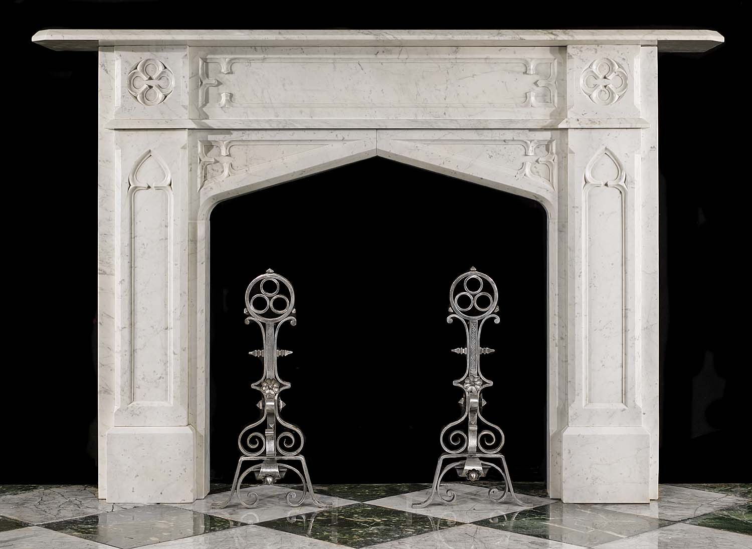 An Antique Gothic Revival Carrara Marble Fireplace Surround