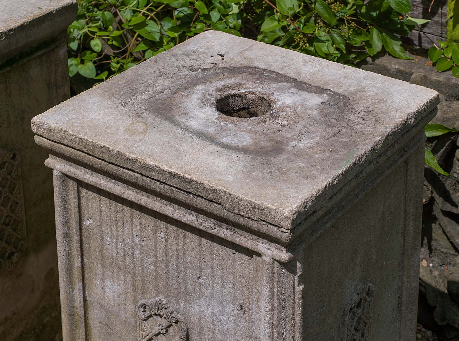 Composition pair of 20th century garden plinths