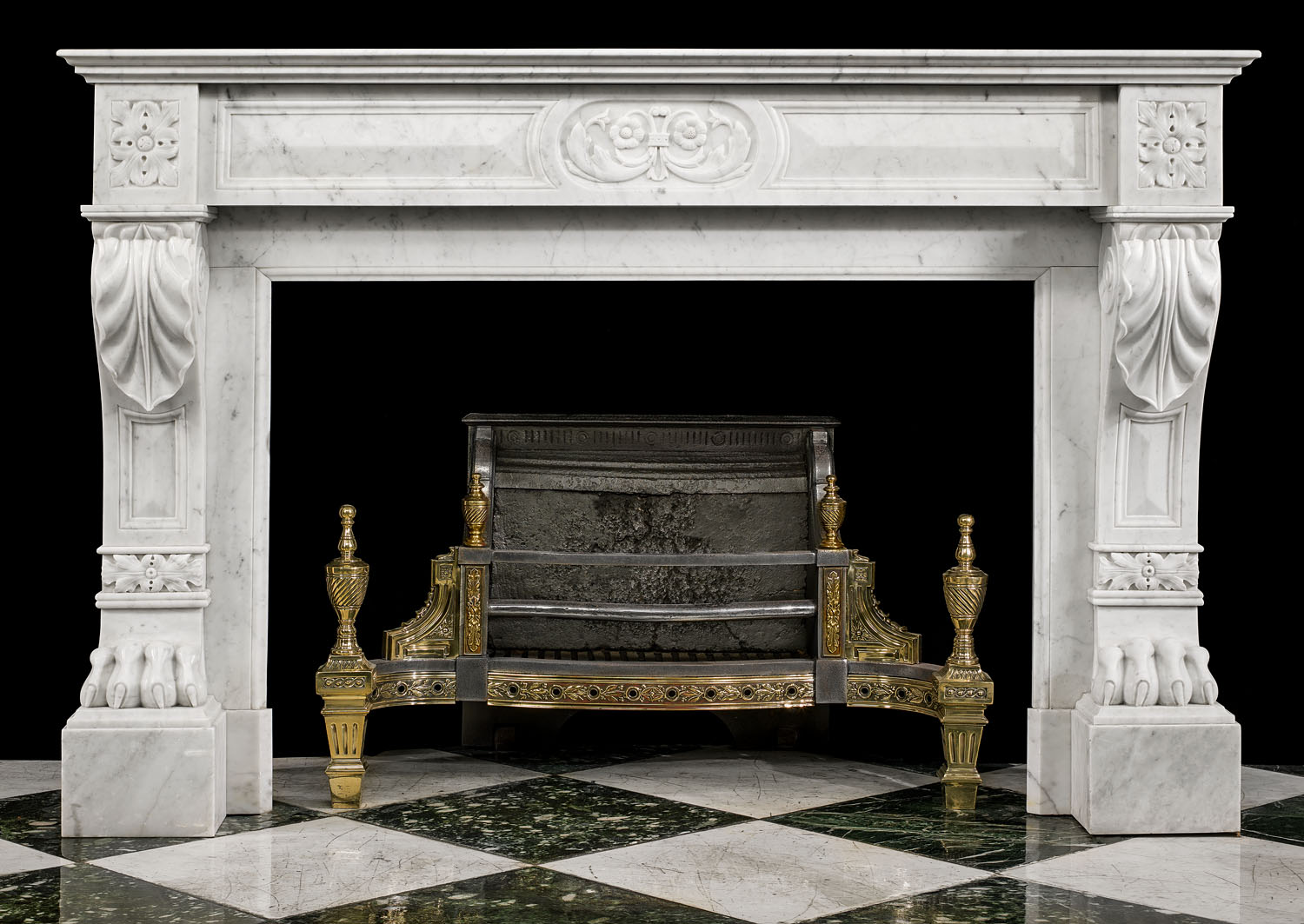 An Antique Louis XVI French Regency Carrara Marble Fireplace Surround