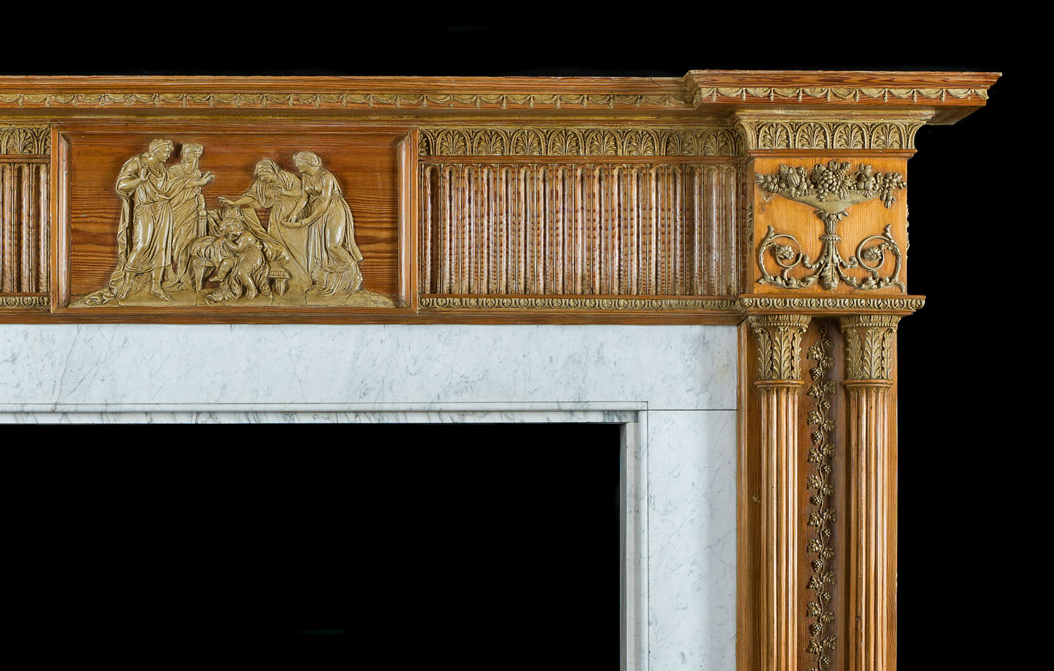 A Fine George III Pine & Gesso Antique Fireplace Mantel