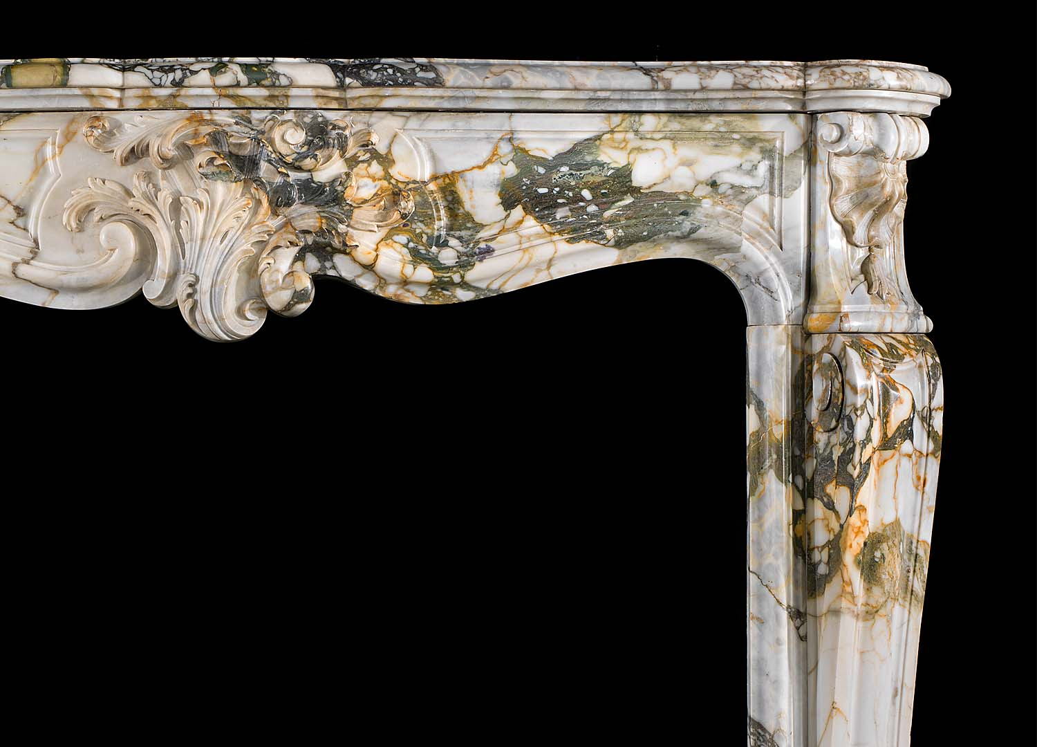 A Breccia di Seravezza Marble Antique Louis XV Fireplace Surround