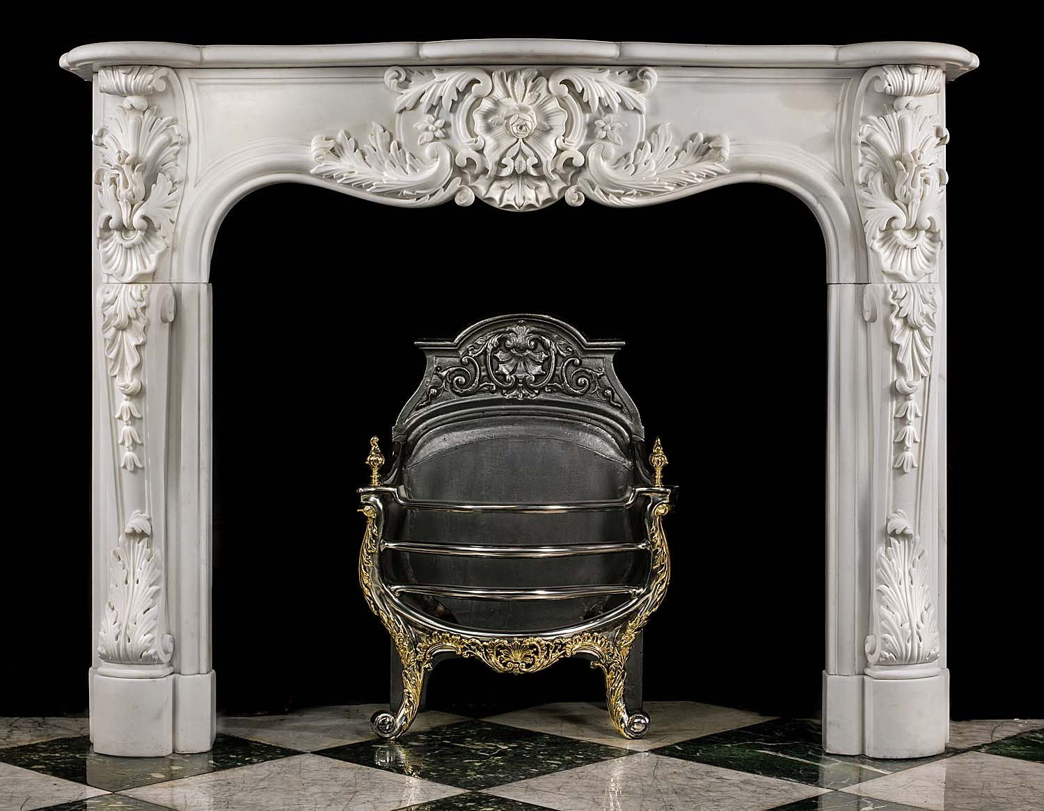 An Antique Louis XV style Statuary Marble Fireplace Mantel