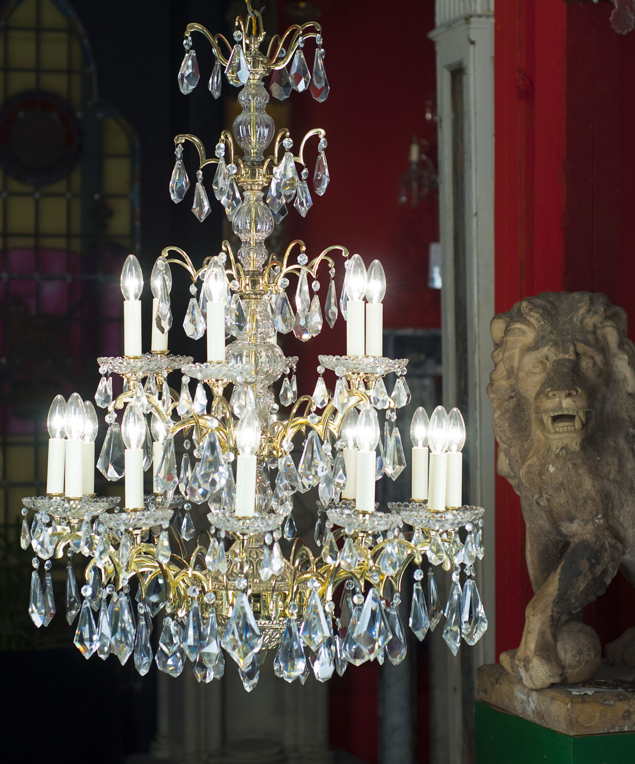 A 20th century 18 branch crystal and bronze chandelier