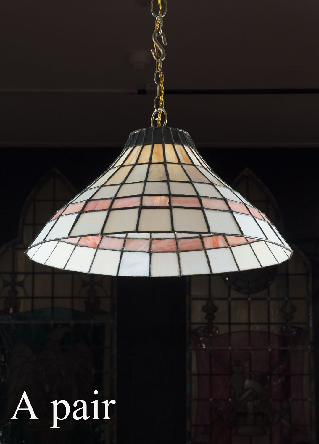 A 20th century pair of Art Deco style ceiling lights