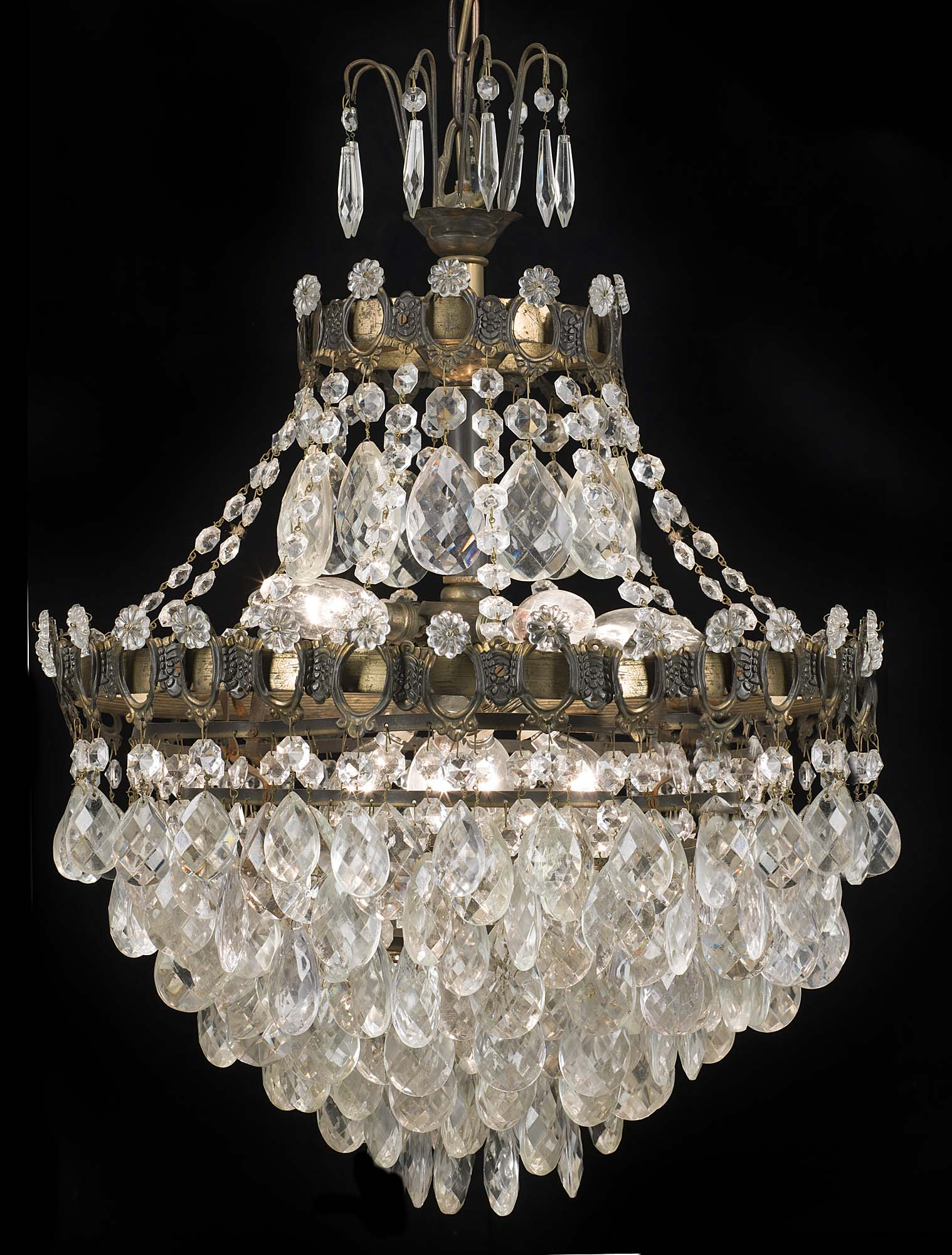 A large Edwardian glass and brass bag chandelier