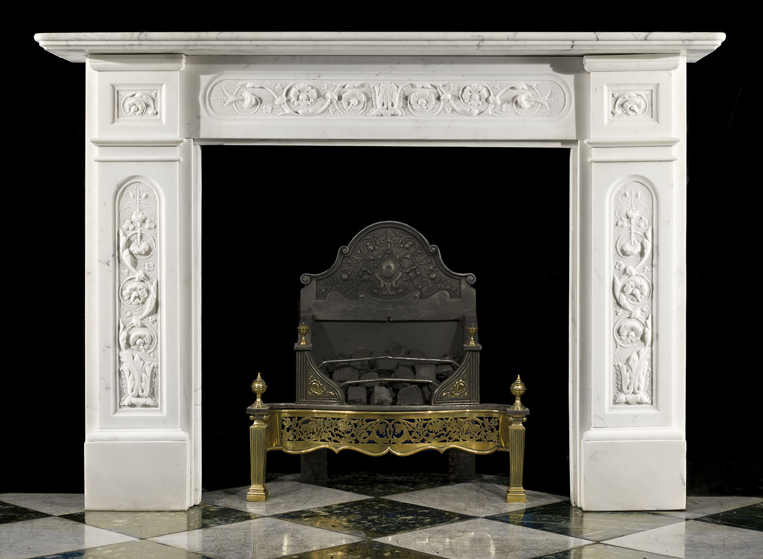 White Marble Antique Victorian Fireplace Mantel Westland