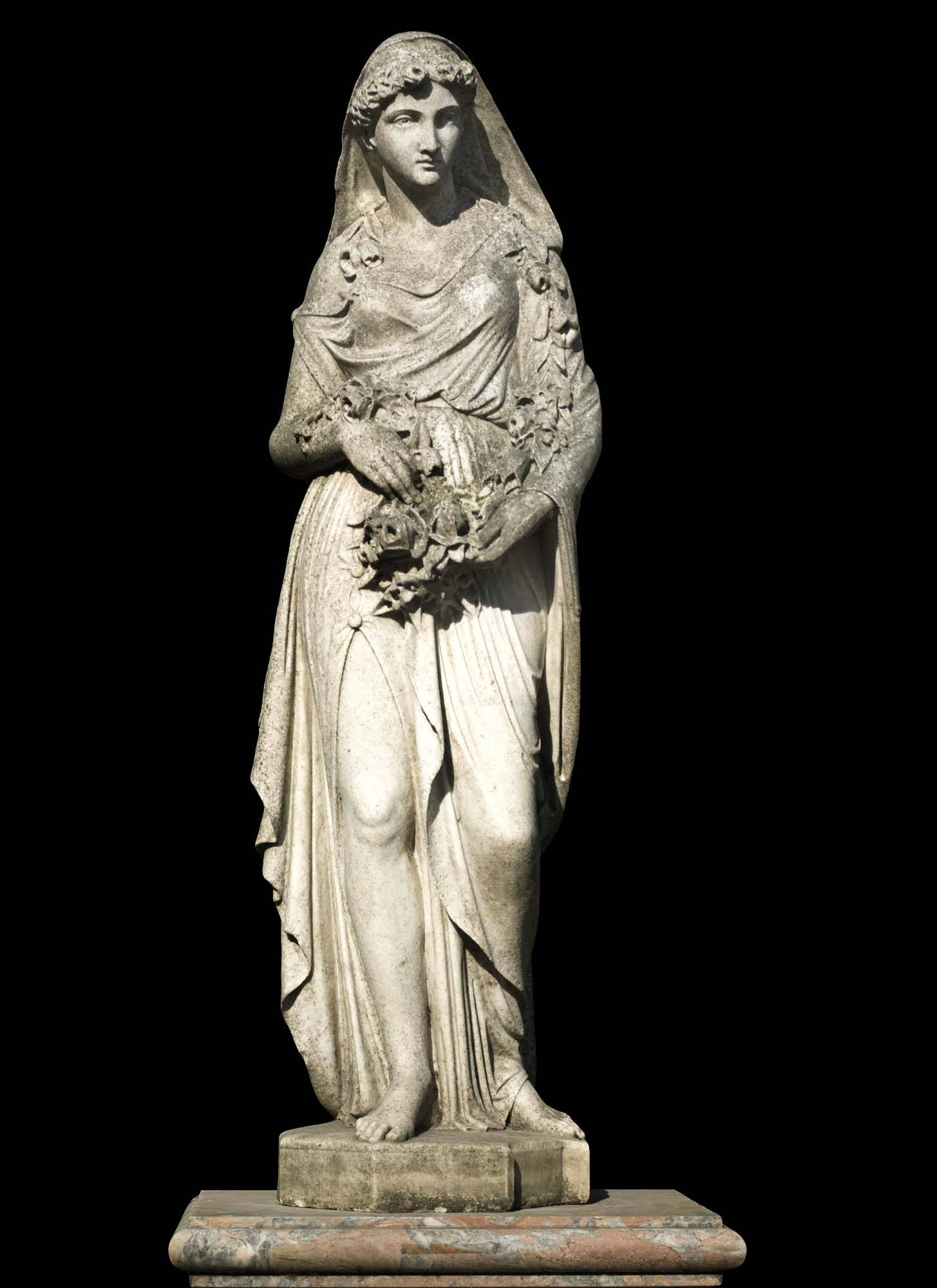 A very fine antique Carrara Marble statue of the Goddess Eiar, one of The Four Seasons