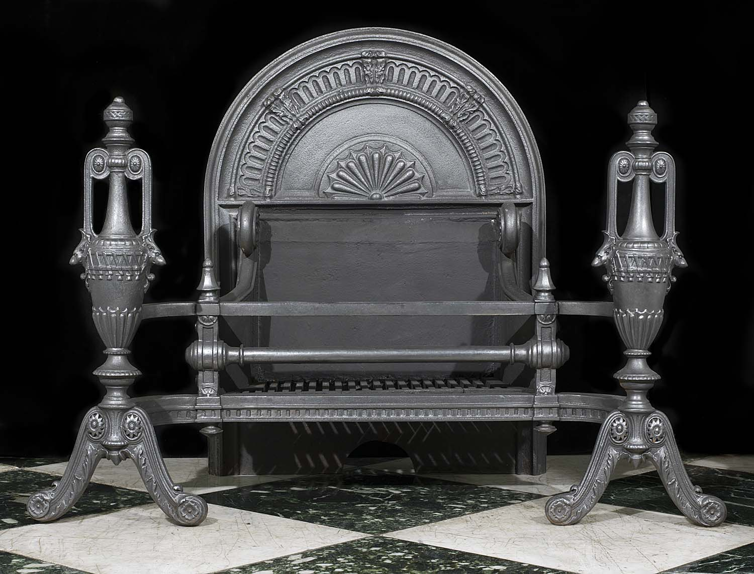 Antique Cast Iron Victorian Baroque Fire Basket