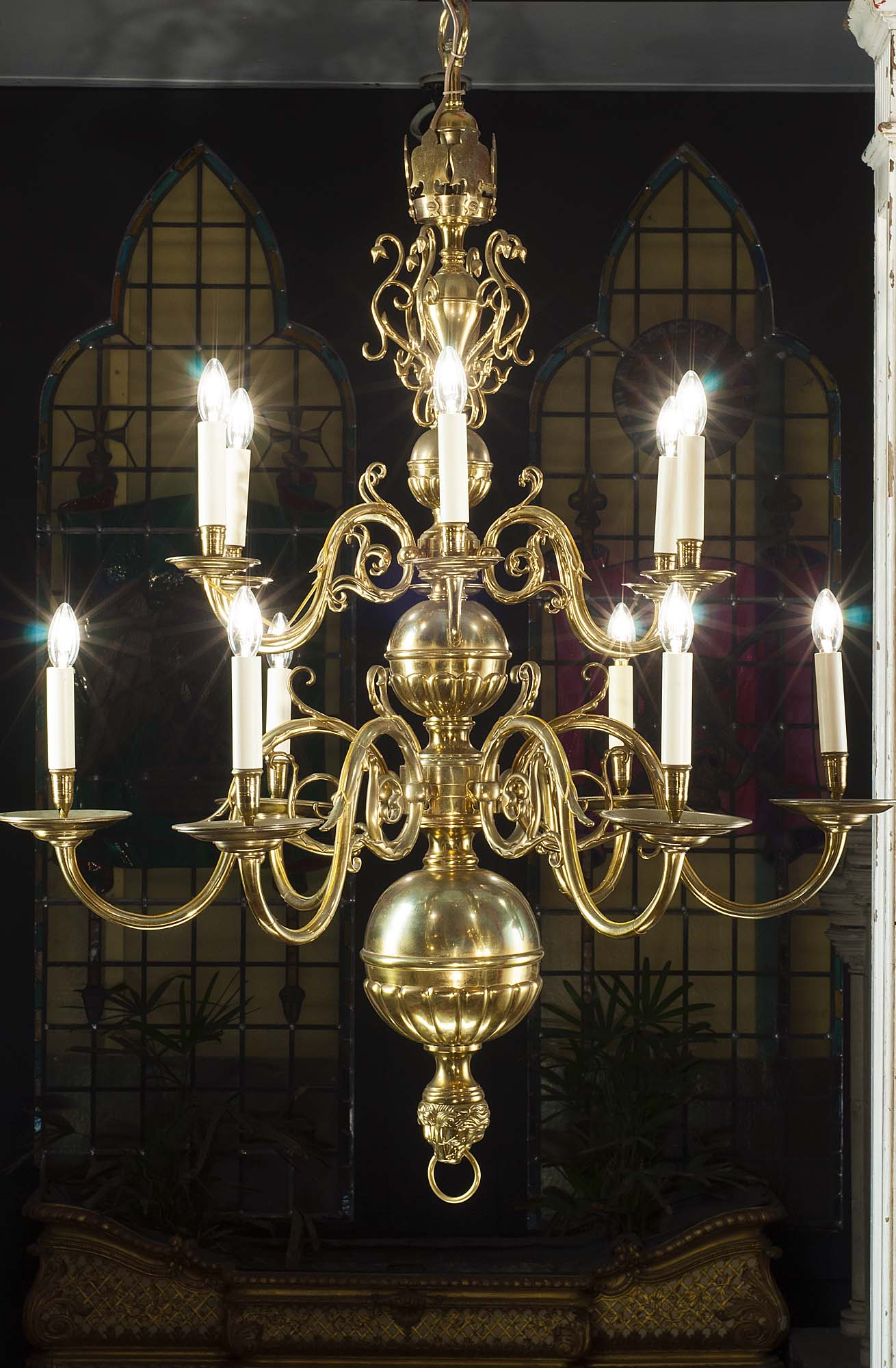 A fine Antique two  tier Baroque style brass chandelier