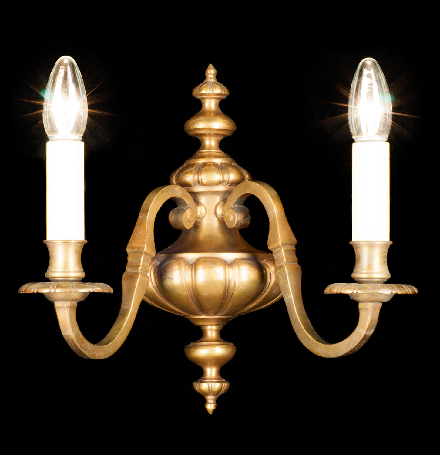 A set of four 20th century Dutch style brass wall lights