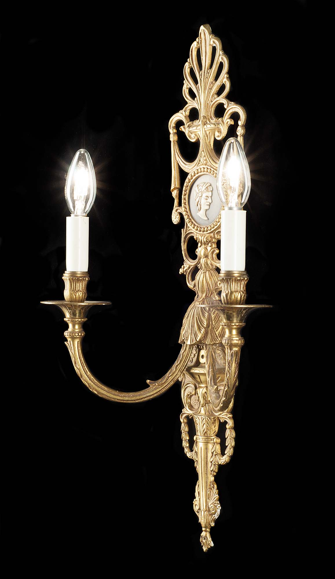 A pair of 20th century Neoclassical style bronze wall lights
