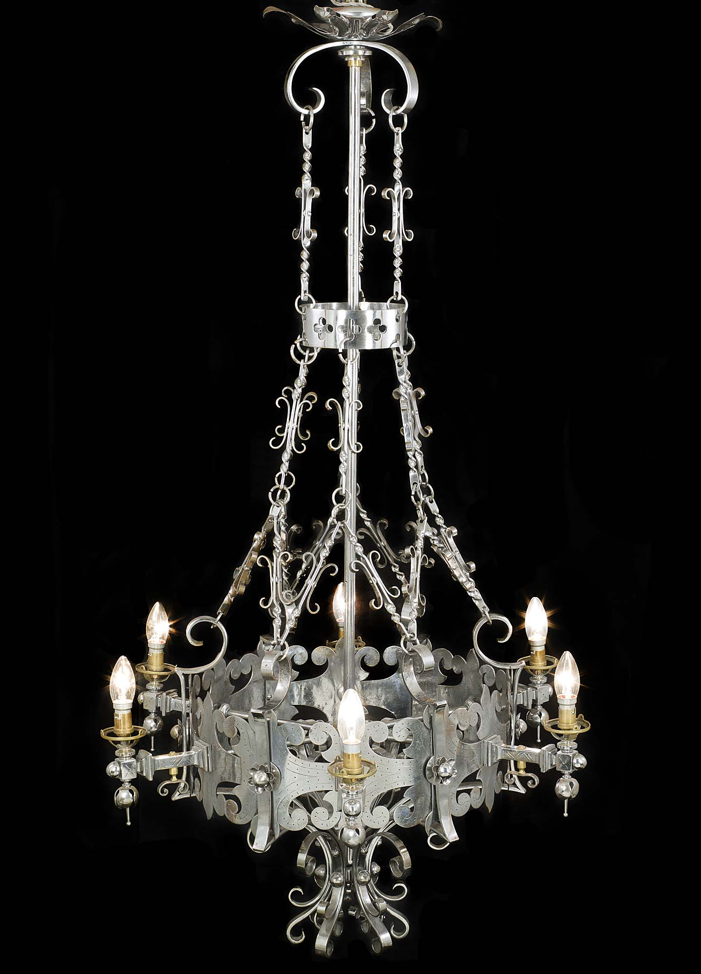 A superb cut steel antique Gothic Revival chandelier