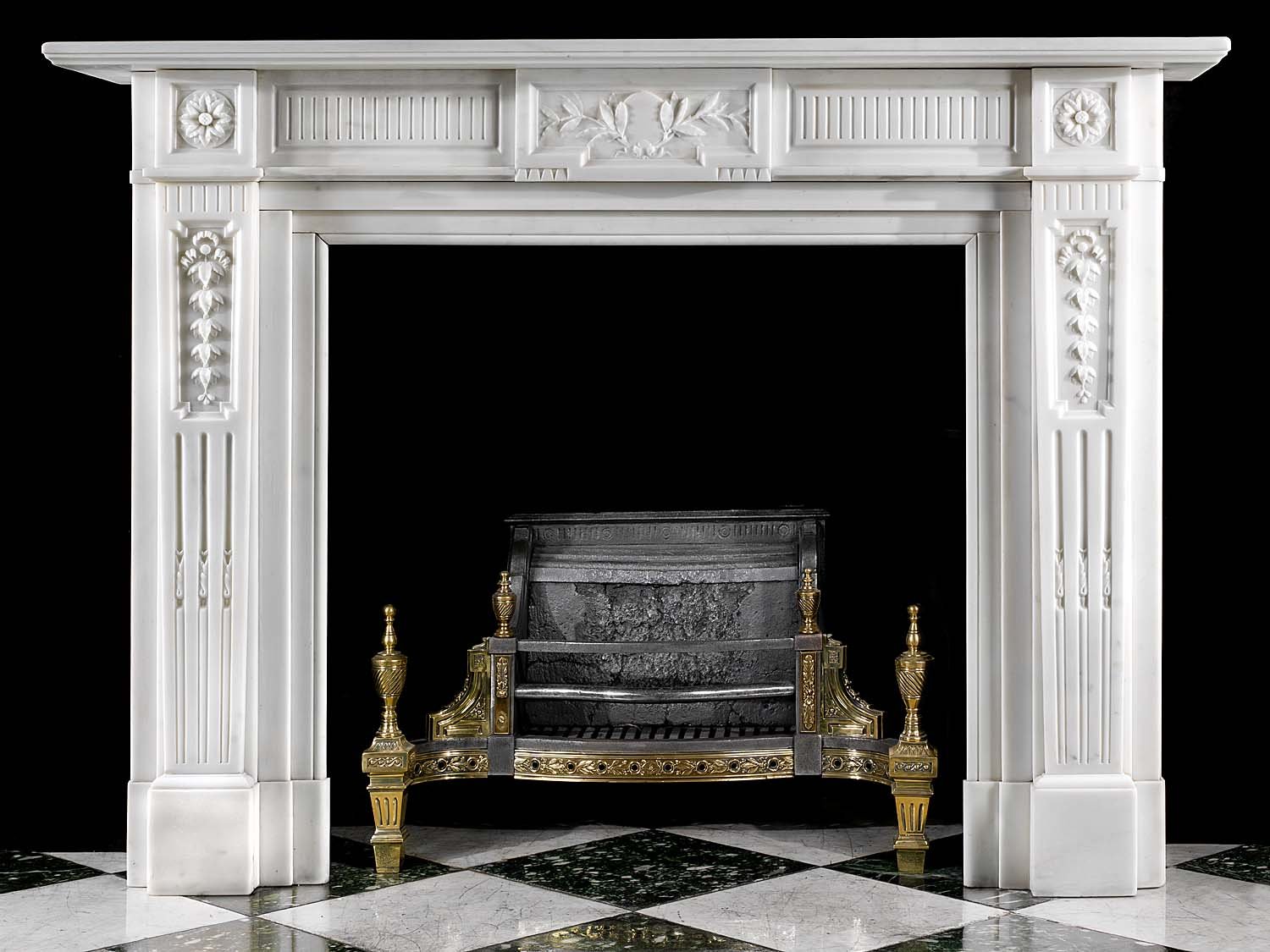 A Belgian Regency style Antique marble fireplace surround