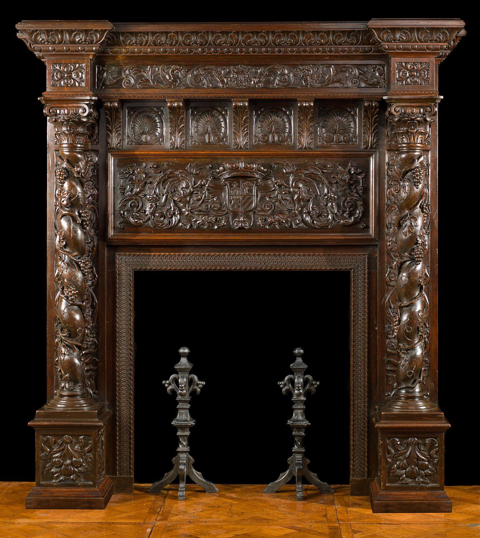 Walnut Italian Renaissance Fireplace Mantel Westland