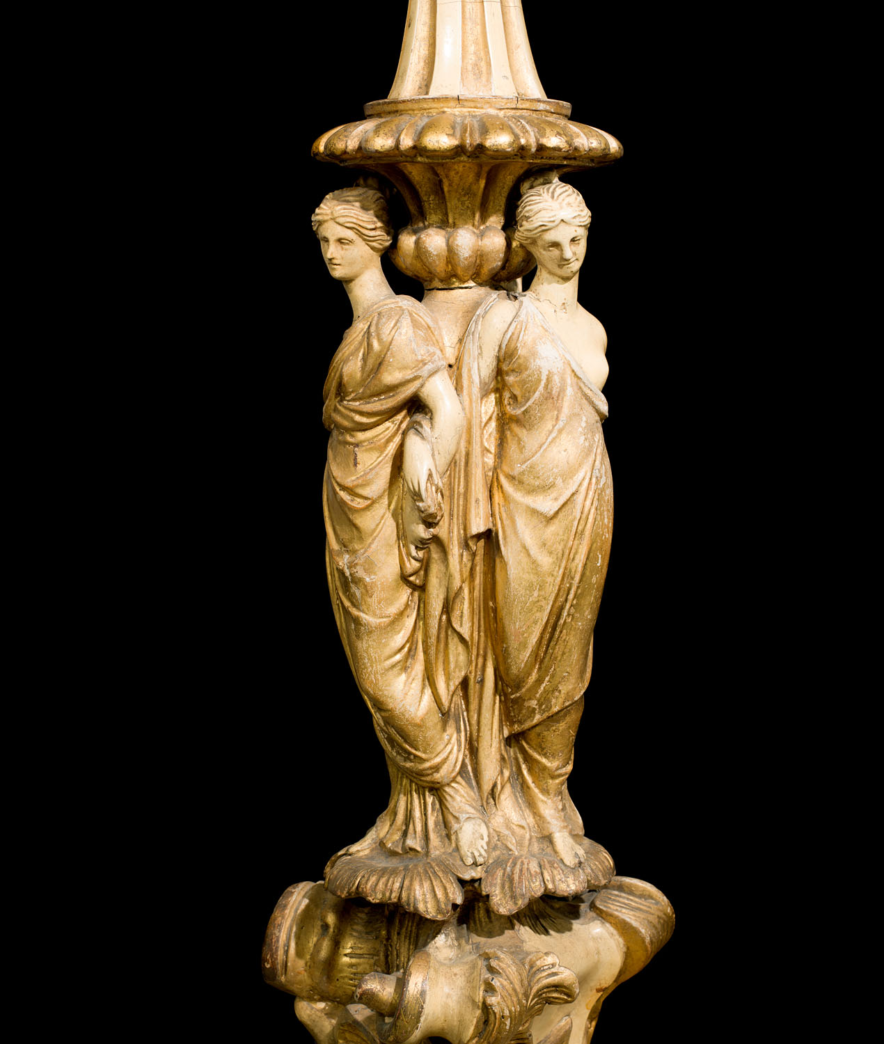 An Antique wood and gesso carved jardiniere