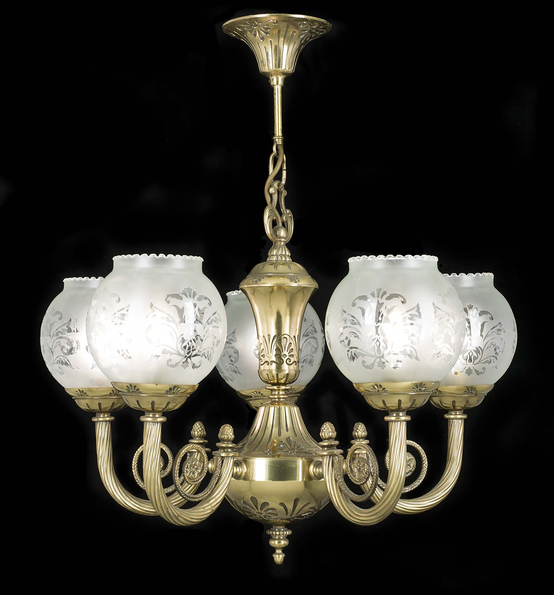 A 20th century five branch gilt brass Victorian style chandelier