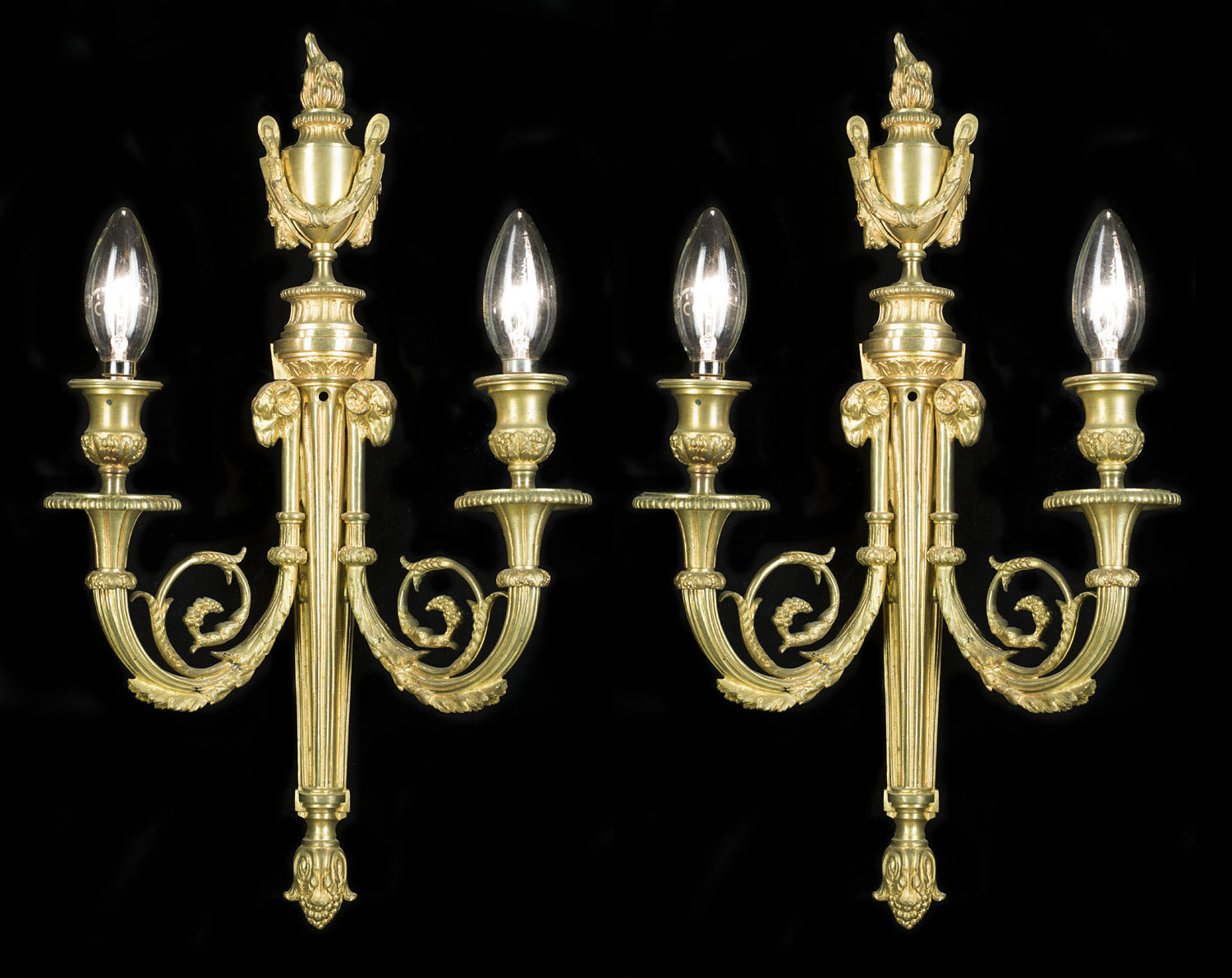 Gilt Brass pair of Neoclassical style wall lights