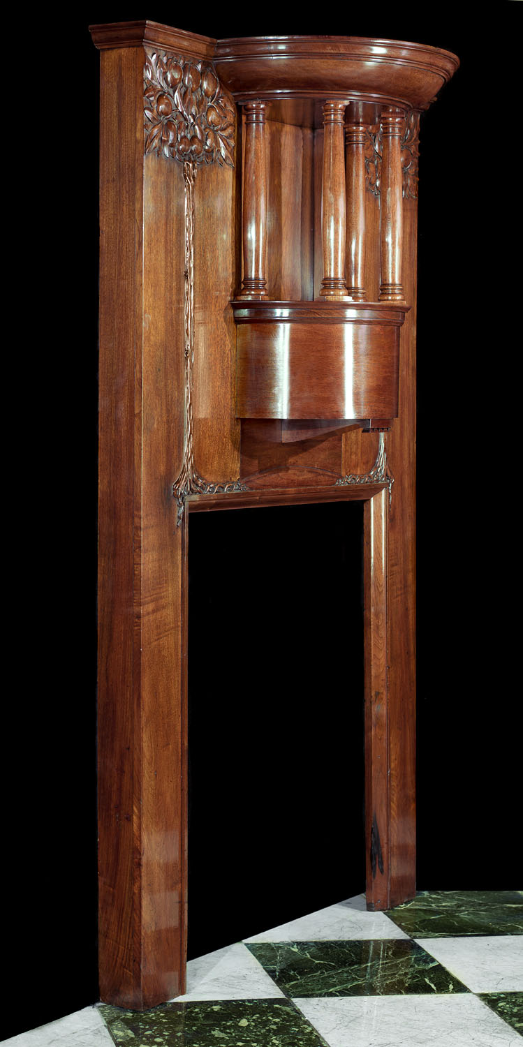 Antique Art Nouveau walnut fireplace surround