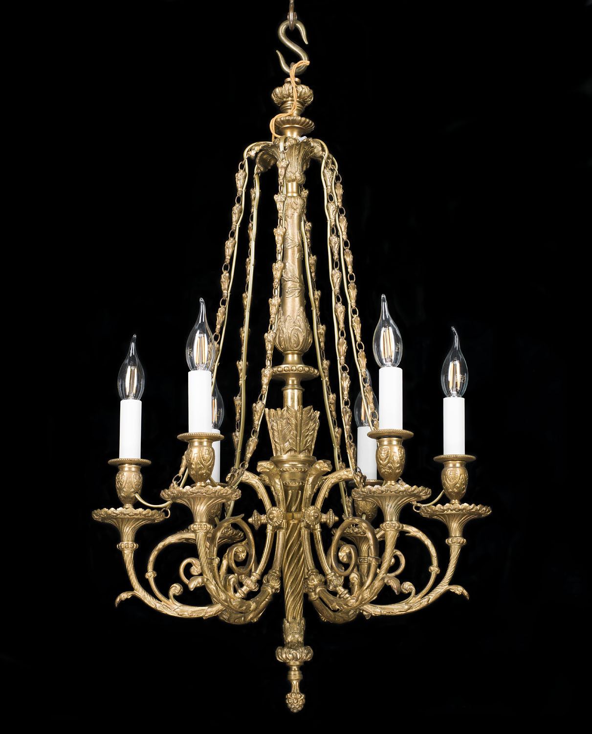 A Neoclassical style large gilt bronze six branch chandelier