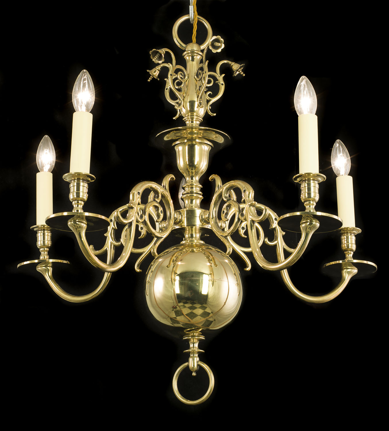 A 20th century Dutch style four branch brass chandelier