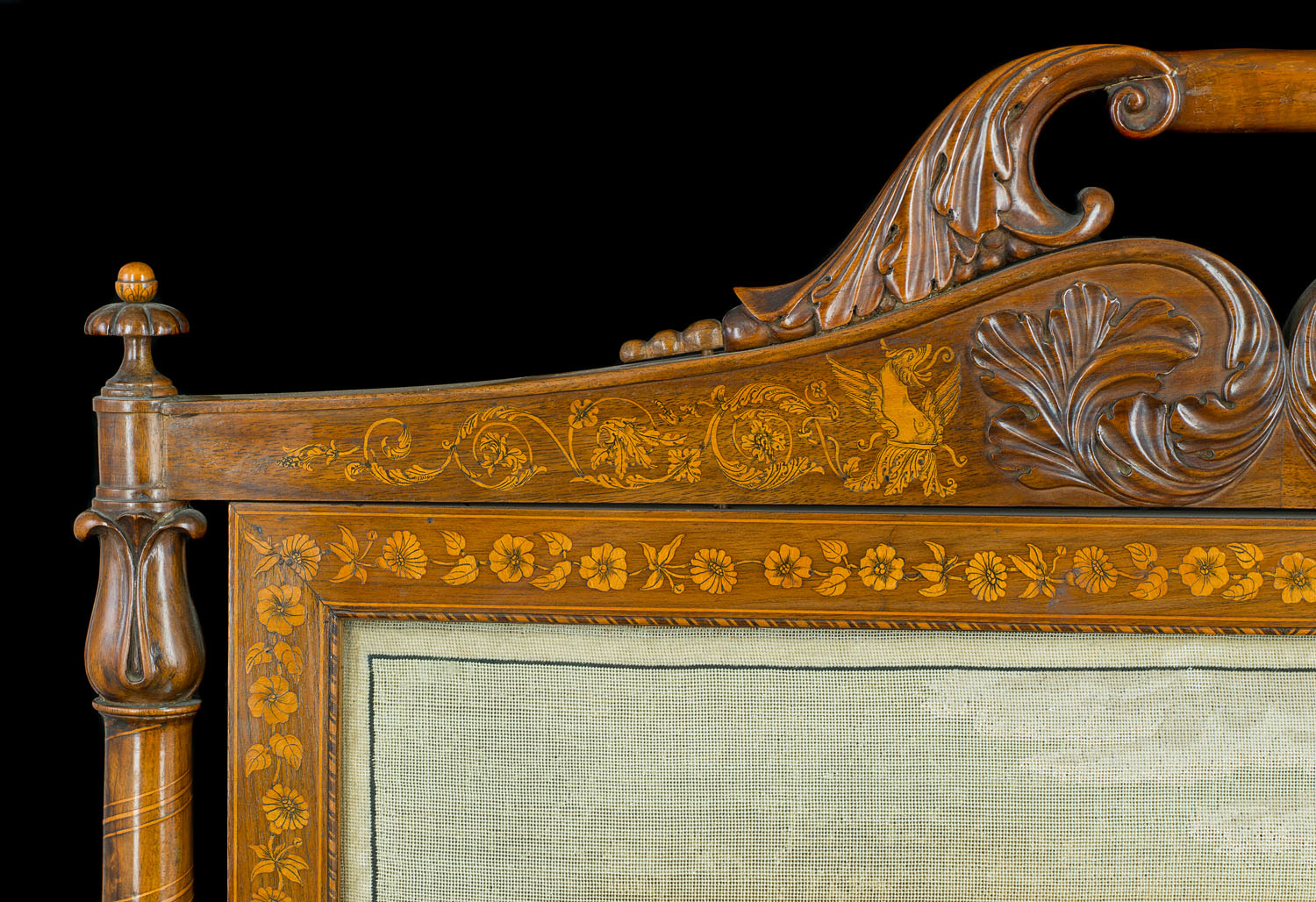 Regency Sheraton Revival inlaid rosewood Fire Screen